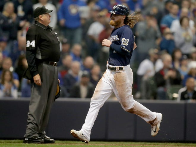 Ben Gamel scores on a sacrifice fly in the opening series.