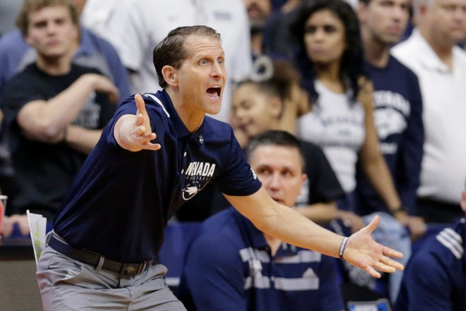 Nevada coach Eric Musselman yells instructions during the first half of a first round men's college basketball game against Florida in the NCAA Tournament, in Des Moines, Iowa, March 21.