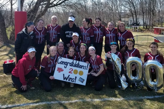 Whippany Park softball coach Todd Callaghan earned his 200th and 201st victories at the Morris Hills Tournament on Saturday.