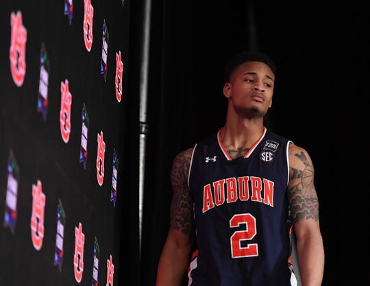 Auburn guard Bryce Brown during a postgame press conference at the Final Four on April 6, 2019, in Minneapolis.