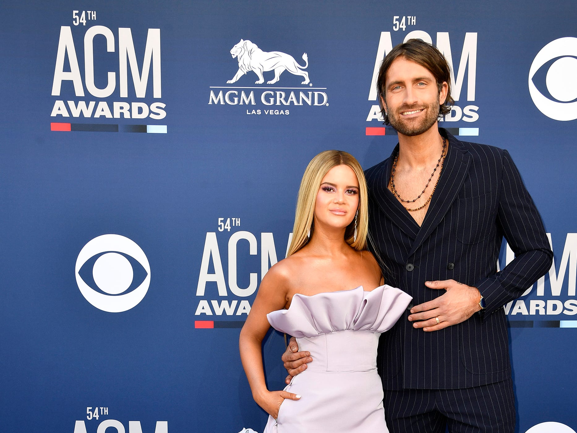 Maren Morris, left, and Ryan Hurd, walk the red carpet at the 54TH Academy of Country Music Awards Sunday, April 7, 2019, in Las Vegas, Nev.