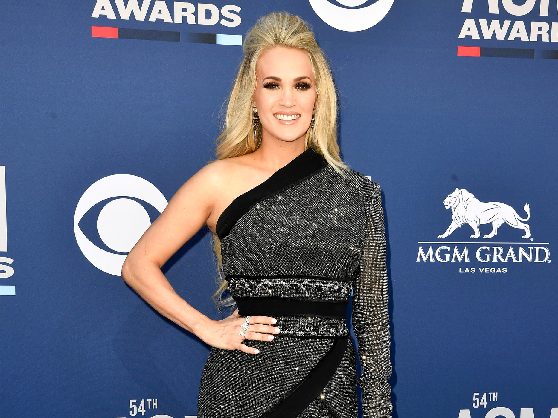 Carrie Underwood walks the red carpet at the 54TH Academy of Country Music Awards Sunday, April 7, 2019, in Las Vegas, Nev.