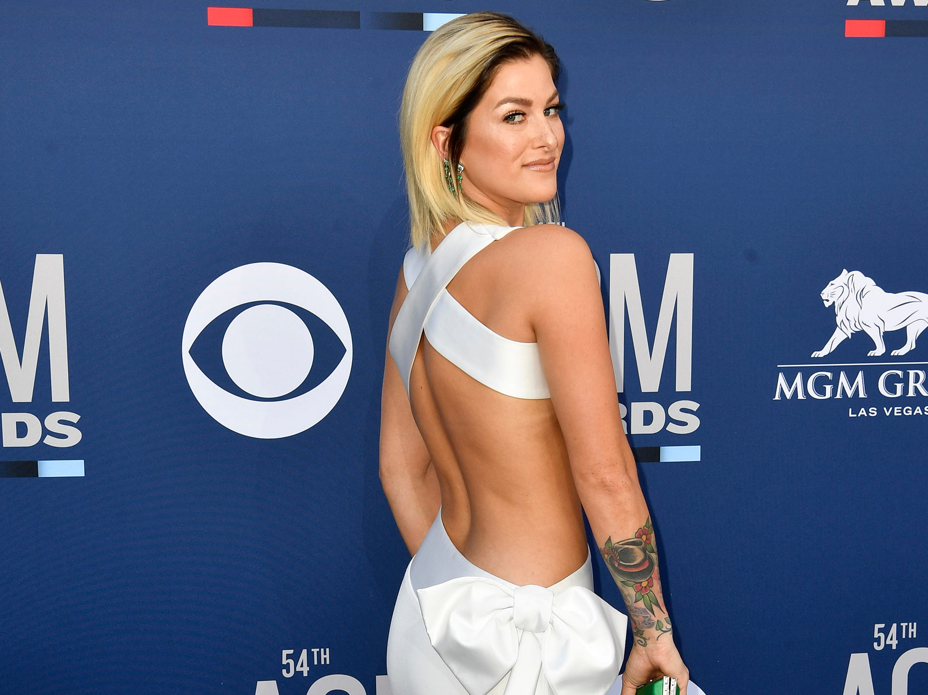 Cassadee Pope walks the red carpet at the 54TH Academy of Country Music Awards Sunday, April 7, 2019, in Las Vegas, Nev.