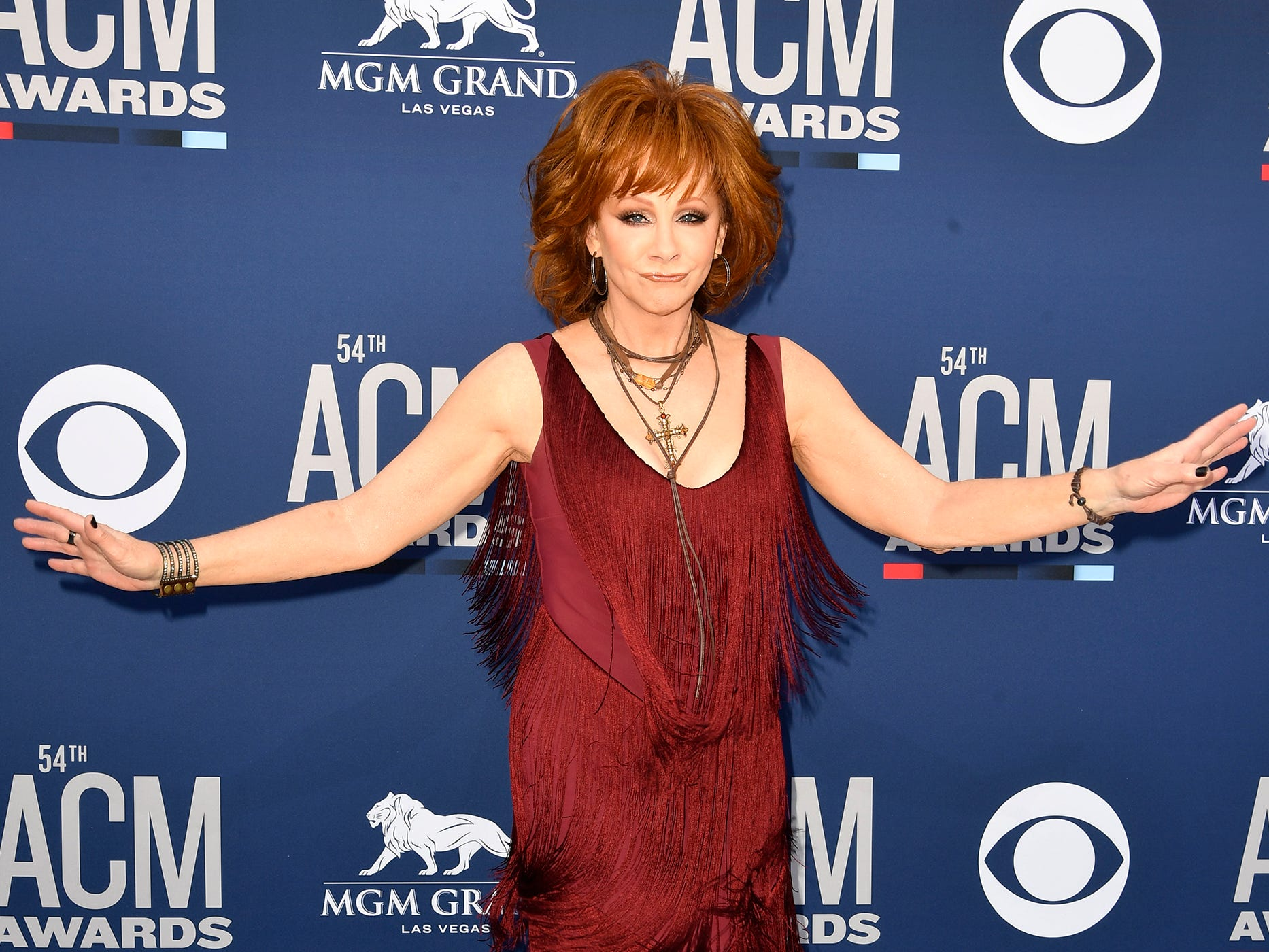 Reba McEntire walks the red carpet at the 54TH Academy of Country Music Awards Sunday, April 7, 2019, in Las Vegas, Nev.