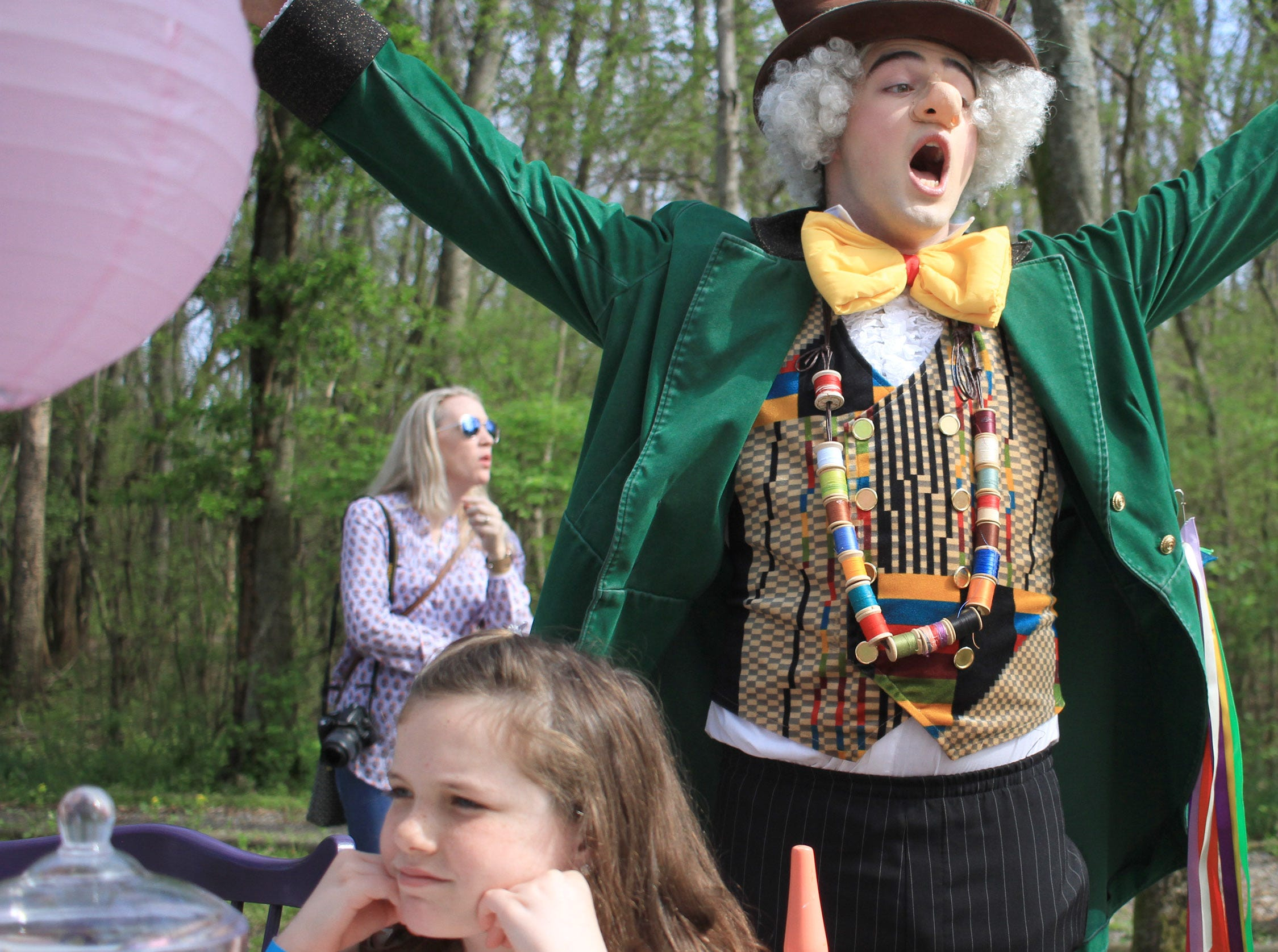 The Mad Hatter struggles to keep the attention at the Mad Hatter Tea Party at Rock Castle in Hendersonville, TN on Saturday, April 6, 2019.