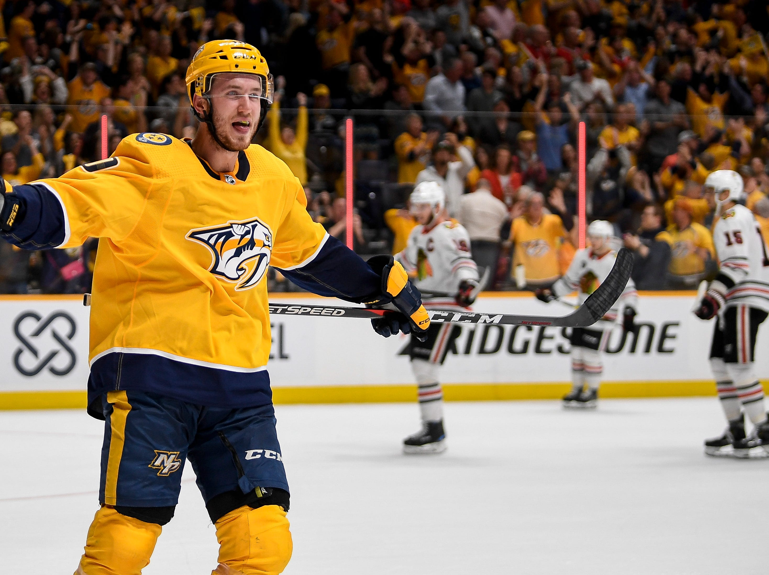 Nashville Predators center Colton Sissons (10) reacts to scoring against the Chicago Blackhawks during the third period at Bridgestone Arena in Nashville, Tenn., Saturday, April 6, 2019.