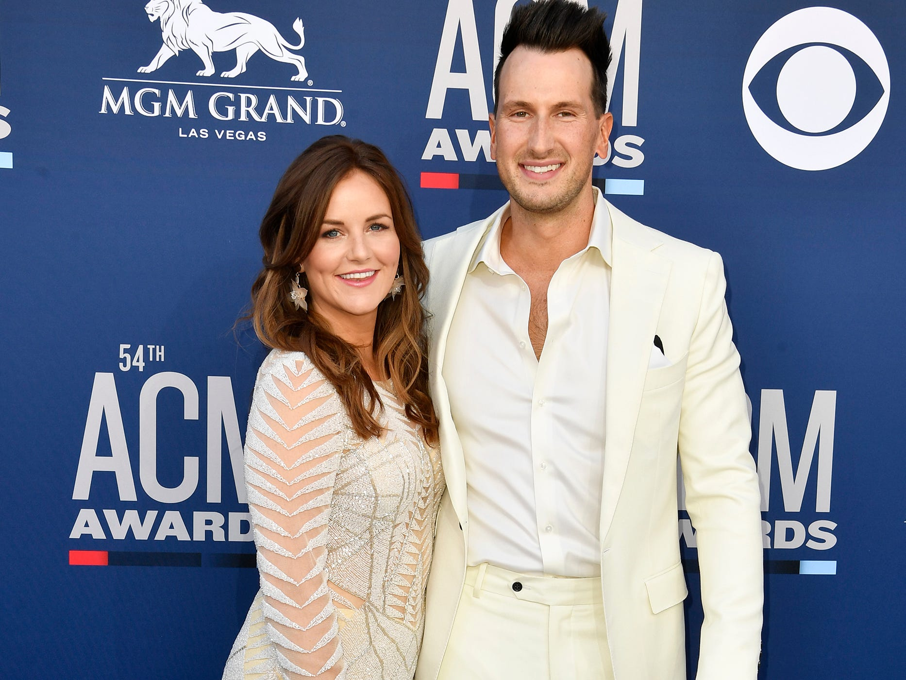 Russell Dickerson, right, and Kailey Dickerson, walks the red carpet at the 54TH Academy of Country Music Awards Sunday, April 7, 2019, in Las Vegas, Nev.