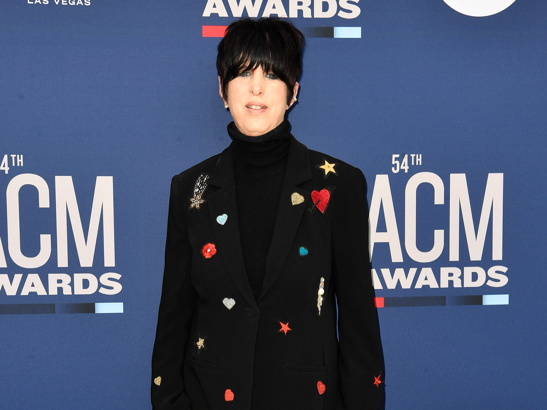 Diane Warren walks the red carpet at the 54TH Academy of Country Music Awards Sunday, April 7, 2019, in Las Vegas, Nev.