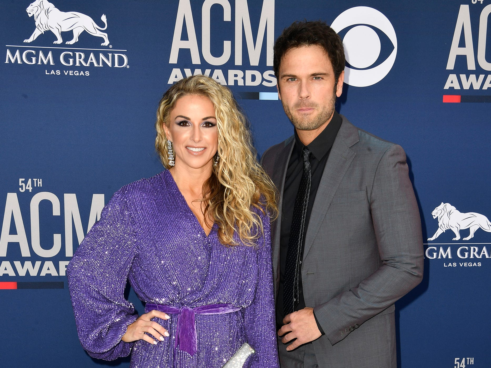 Chuck Wicks, right, and Kasi Williams, walk the red carpet at the 54TH Academy of Country Music Awards Sunday, April 7, 2019, in Las Vegas, Nev.