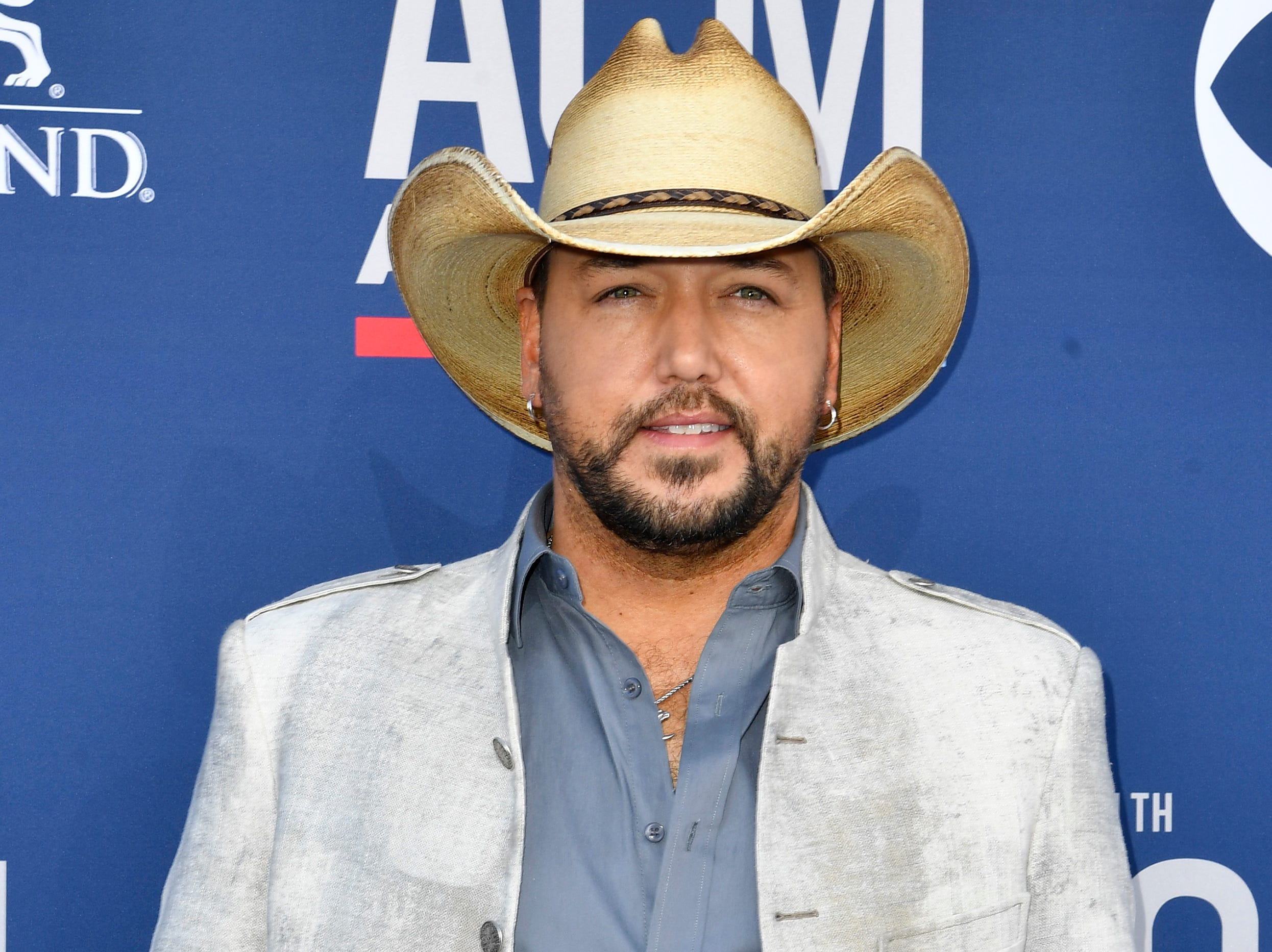 Jason Aldrean walks the red carpet at the 54TH Academy of Country Music Awards Sunday, April 7, 2019, in Las Vegas, Nev.
