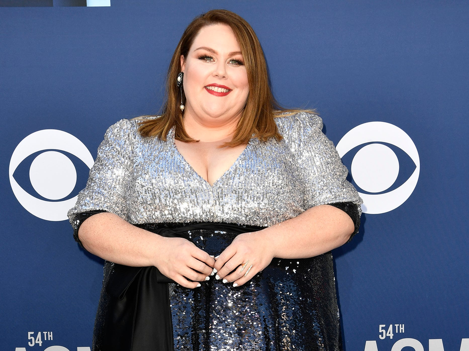 Chrissy Metz walks the red carpet at the 54TH Academy of Country Music Awards Sunday, April 7, 2019, in Las Vegas, Nev.