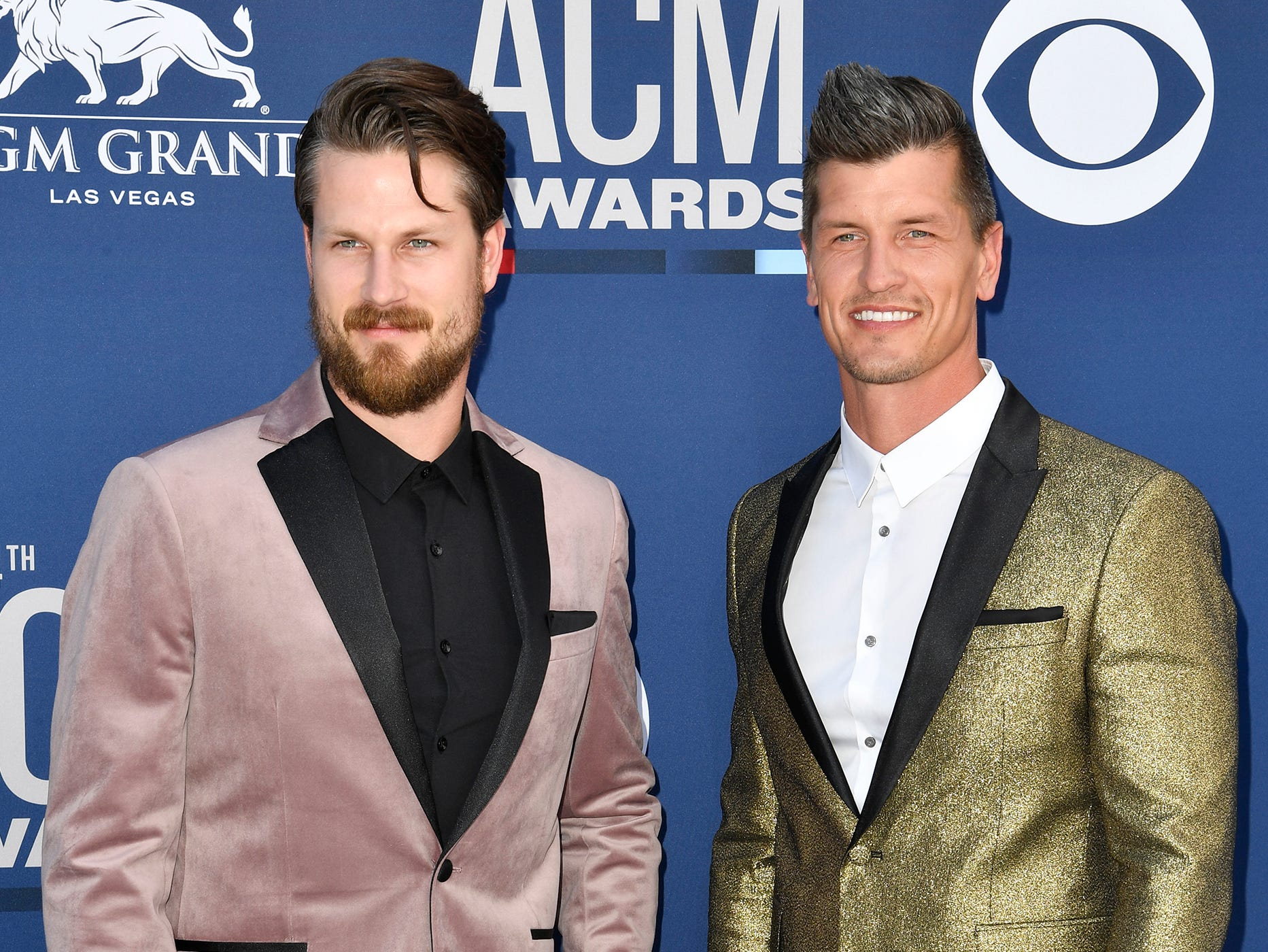 Curtis Rempel, left, and Brad Rempel of High Valley, walk the red carpet at the 54TH Academy of Country Music Awards Sunday, April 7, 2019, in Las Vegas, Nev.