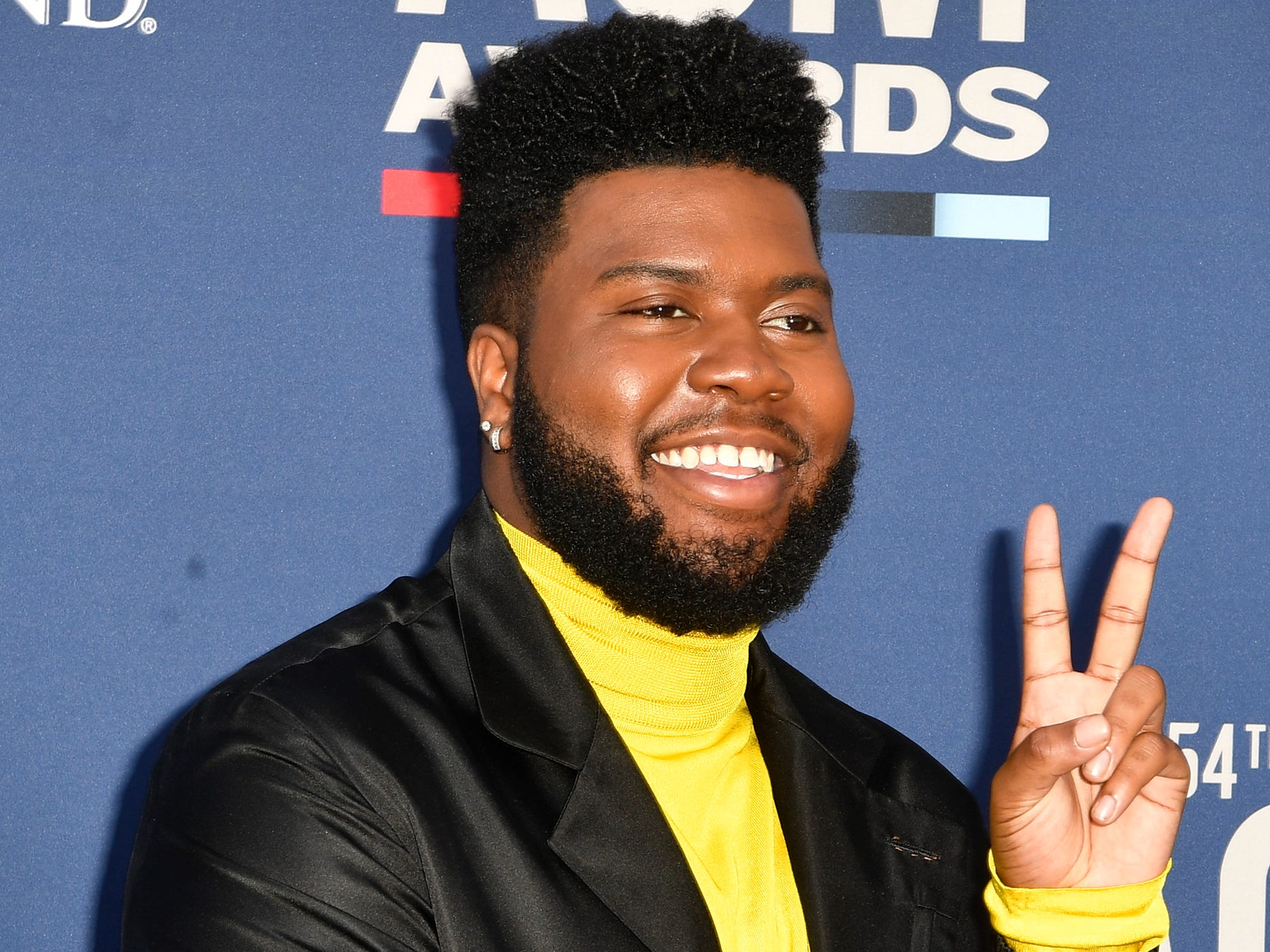 Khalid walks the red carpet at the 54TH Academy of Country Music Awards Sunday, April 7, 2019, in Las Vegas, Nev.