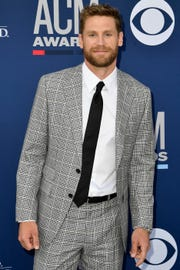 Chase Rice walks the red carpet at the 54TH Academy of Country Music Awards Sunday, April 7, 2019, in Las Vegas, Nev.