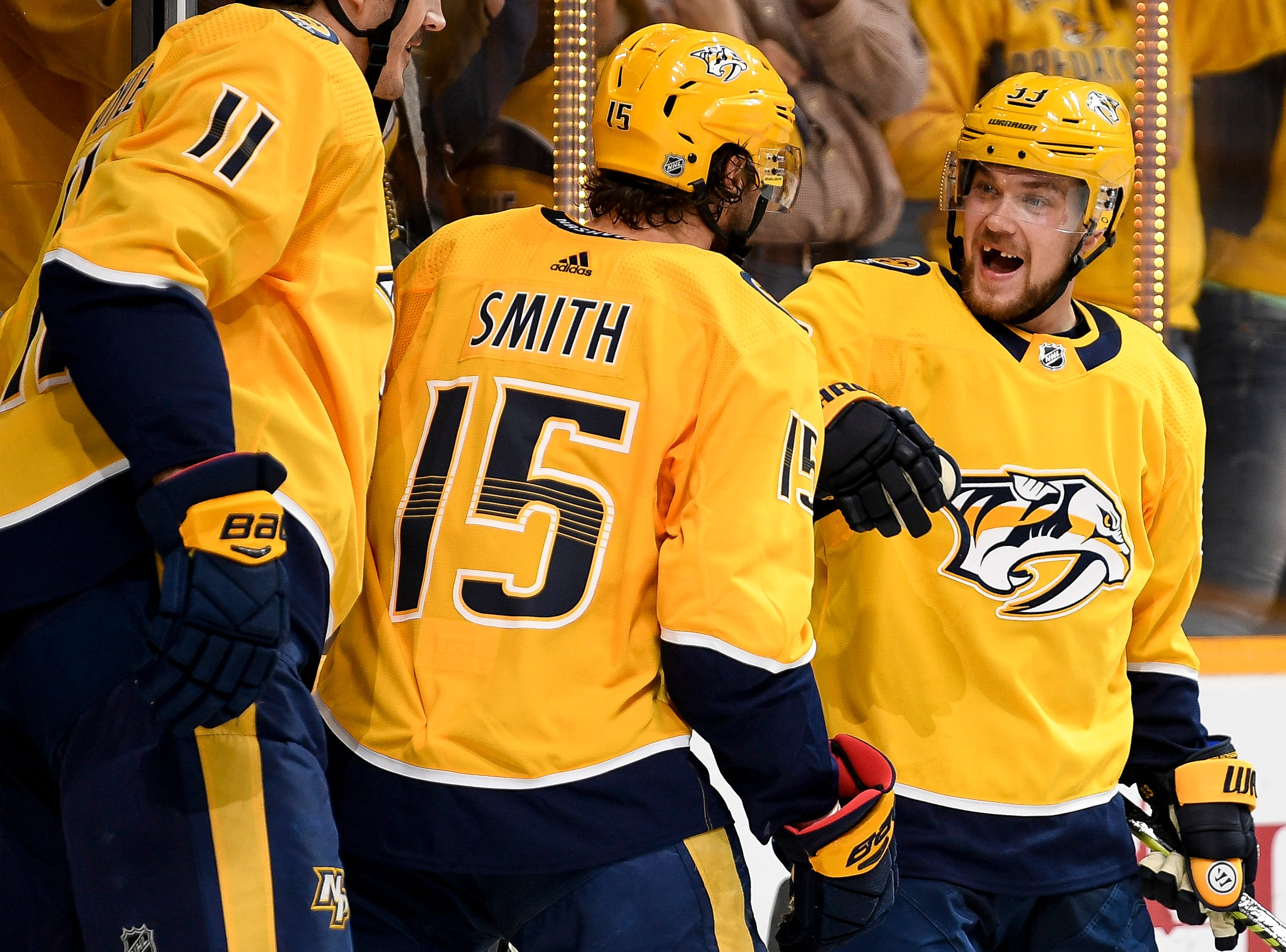 Nashville Predators right wing Viktor Arvidsson (33) reacts to scoring the game-winning goal against the Chicago Blackhawks during the third period at Bridgestone Arena in Nashville, Tenn., Saturday, April 6, 2019.