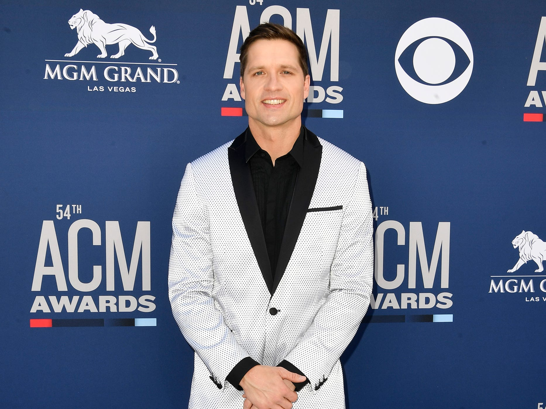 Walker Hayes walks the red carpet at the 54TH Academy of Country Music Awards Sunday, April 7, 2019, in Las Vegas, Nev.