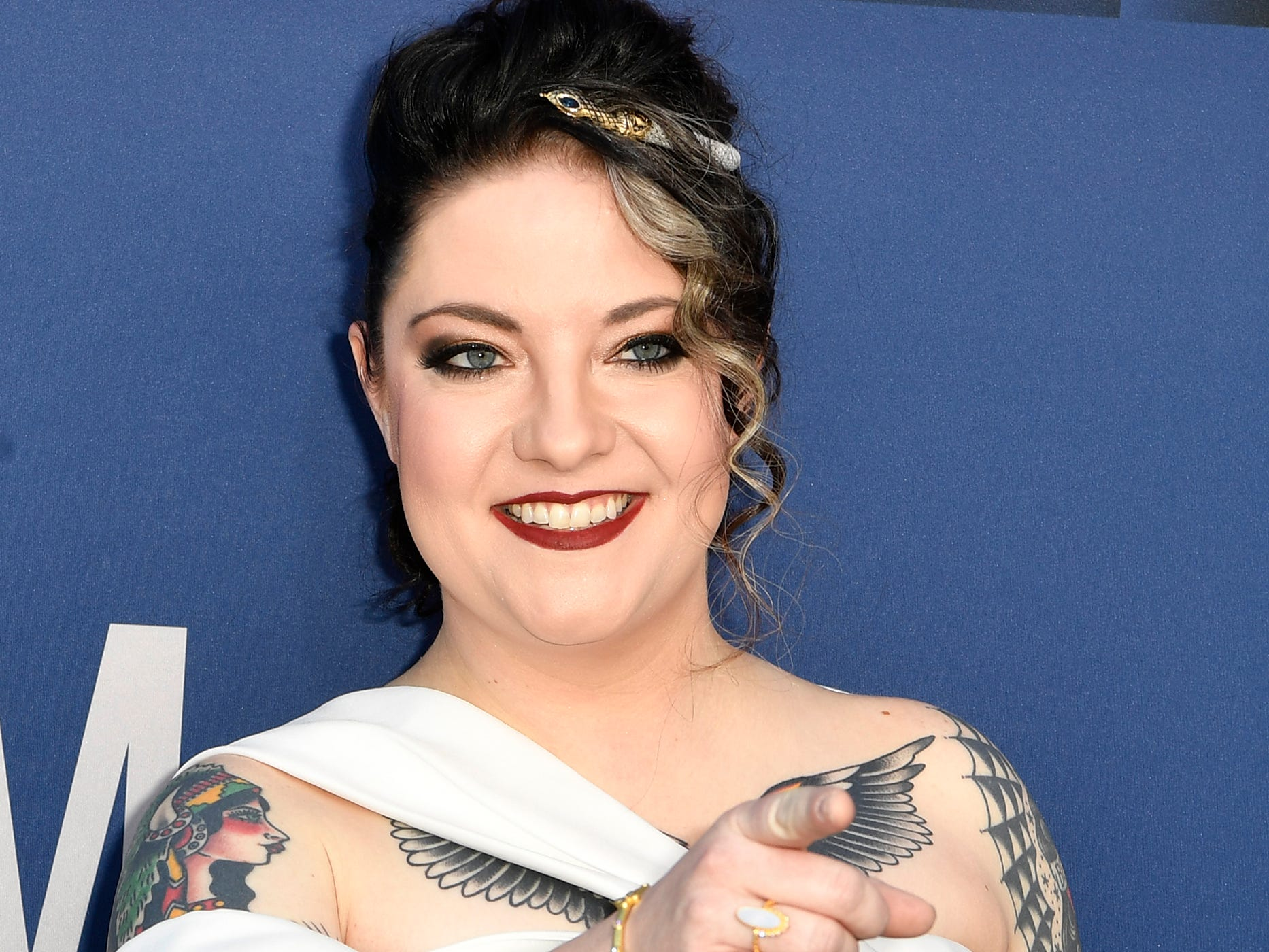 Ashley McBryde walks the red carpet at the 54TH Academy of Country Music Awards Sunday, April 7, 2019, in Las Vegas, Nev.