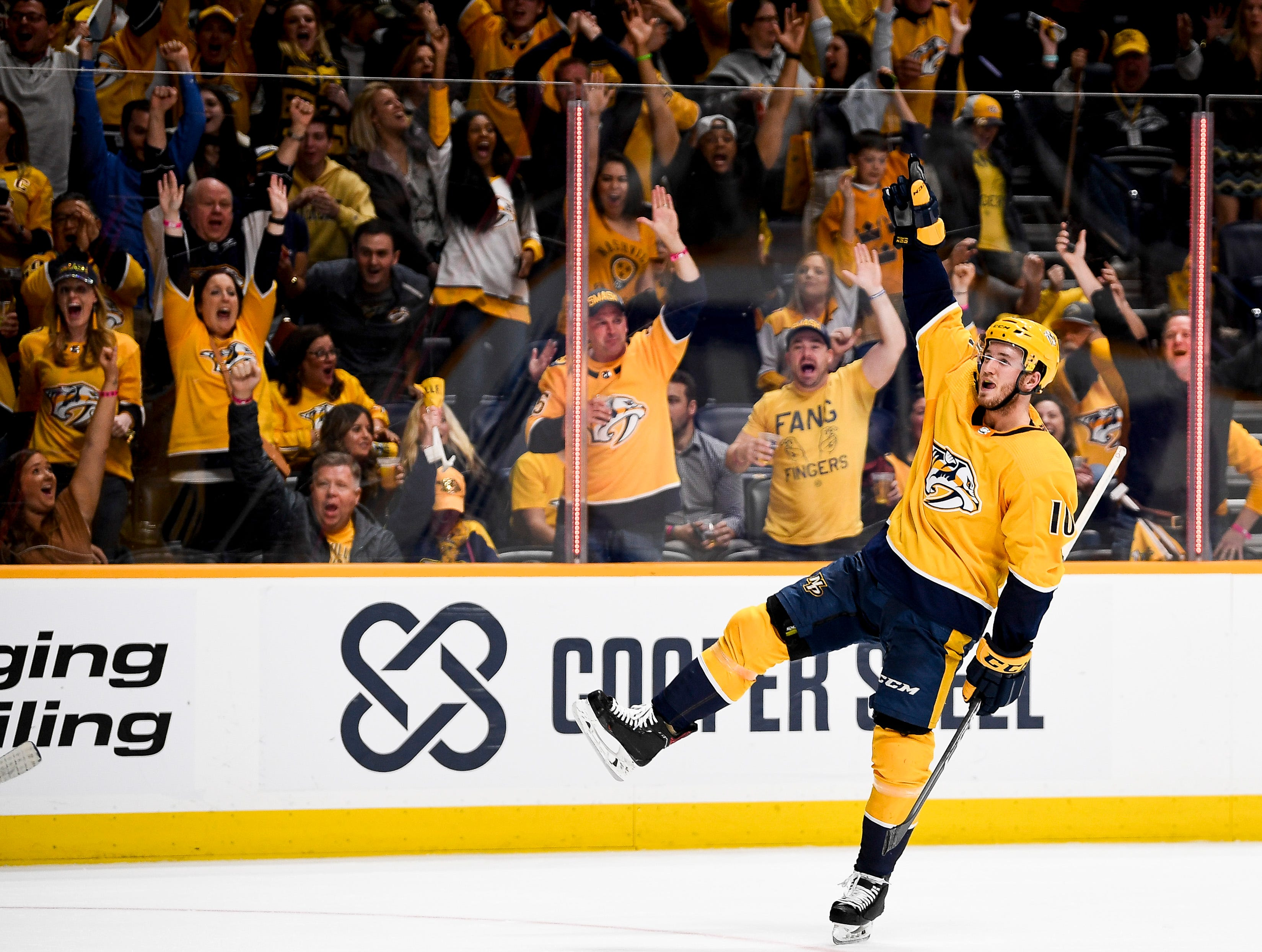 April 6, 2019 - Predators 5, Blackhawks 2: Nashville Predators center Colton Sissons (10) reacts to scoring against the Chicago Blackhawks during the third period at Bridgestone Arena in Nashville, Tenn., Saturday, April 6, 2019.