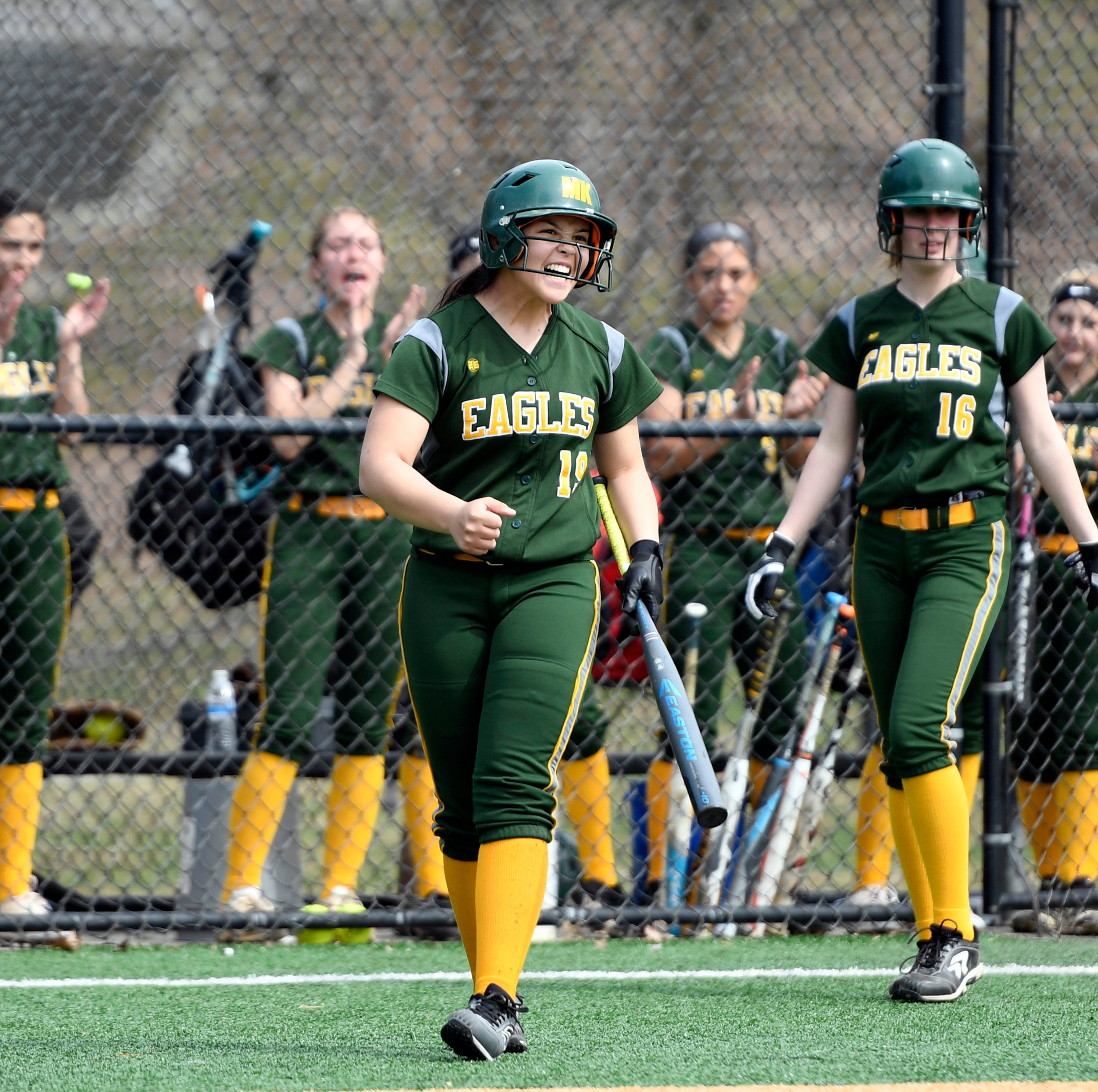 Morris Knolls' Kayla Turcios (19) yells to a teammate after a hit. IHA defeats Morris Knolls 8-5 to win the first-ever NFCA New Jersey Leadoff Classic on Sunday, April 7, 2019, in Newark. This first Leadoff Classic is in honor of Anthony LaRezza, the former Immaculate Heart Academy coach who passed away in February 2016 after battling cancer.