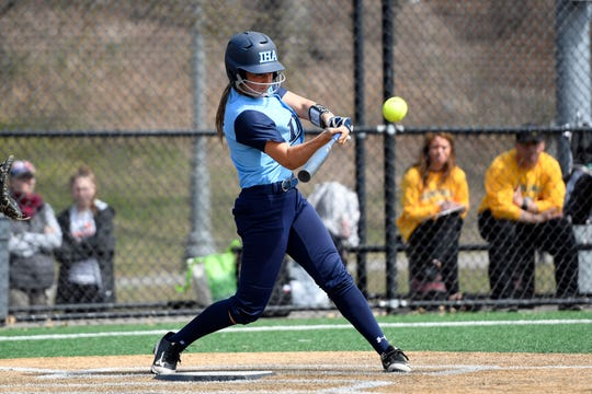 Immaculate Heart Academy's Mia Recenello connects for a solo home run. IHA defeats Morris Knolls 8-5 to win the first-ever NFCA New Jersey Leadoff Classic on Sunday, April 7, 2019, in Newark. This first Leadoff Classic is in honor of Anthony LaRezza, the former Immaculate Heart Academy coach who passed away in February 2016 after battling cancer.