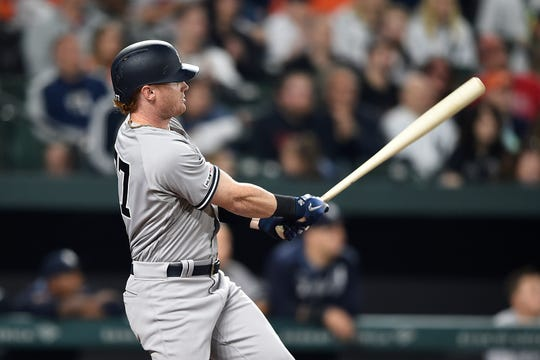 New York Yankees' Clint Frazier follows through on a three-run home run against the Baltimore Orioles during the eighth inning of a baseball game Saturday, April 6, 2019, in Baltimore.
