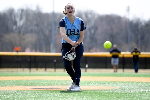 Immaculate Heart Academy's Ryleigh White pitches to Morris Knolls. IHA defeats Morris Knolls 8-5 to win the first-ever NFCA New Jersey Leadoff Classic on Sunday, April 7, 2019, in Newark. This first Leadoff Classic is in honor of Anthony LaRezza, the former Immaculate Heart Academy coach who passed away in February 2016 after battling cancer.
