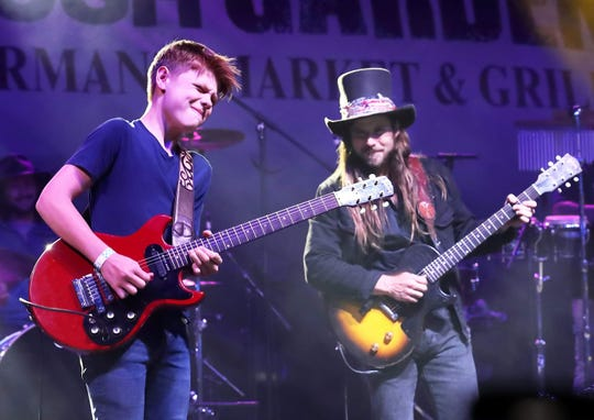 Toby Lee performs with Lukas Nelson Friday at the opening night of the Wedbush Garden Jam at the Indian Wells Tennis Garden.