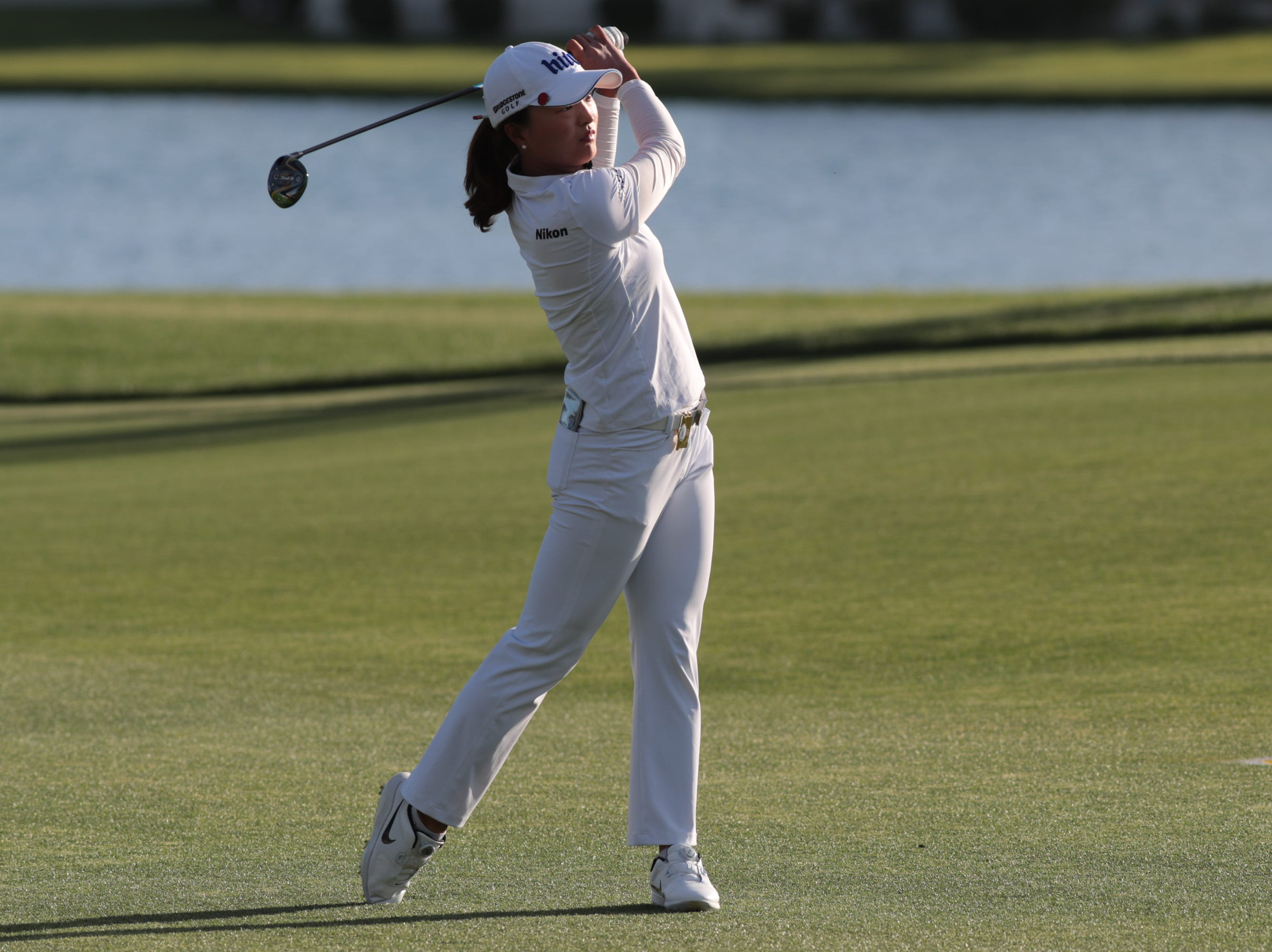 Jin Youg Ko hits on the 18th hole of the Dinah Shore Course at the ANA Inspiration, Rancho Mirage, Calif., April 6, 2019.