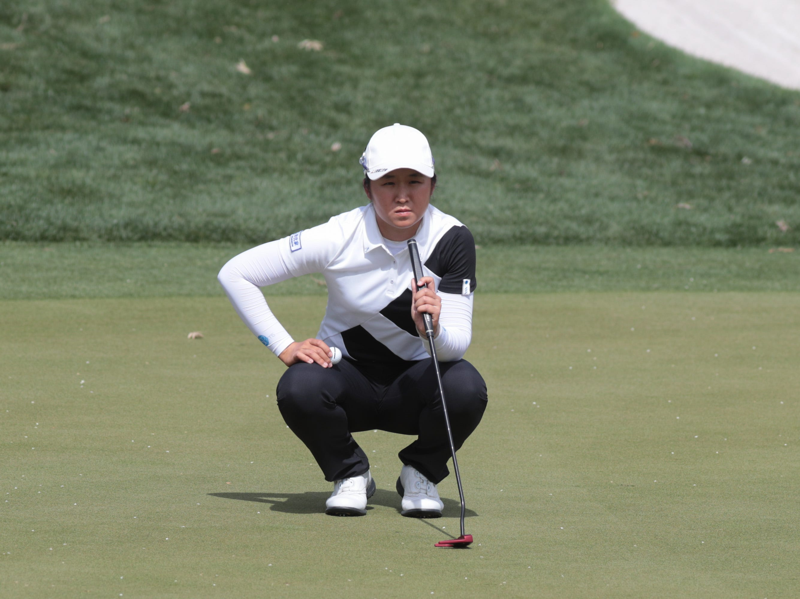 Jing Yan prepares to putt on the Dinah Shore Course at the ANA Inspiration, Rancho Mirage, Calif., April 6, 2019.