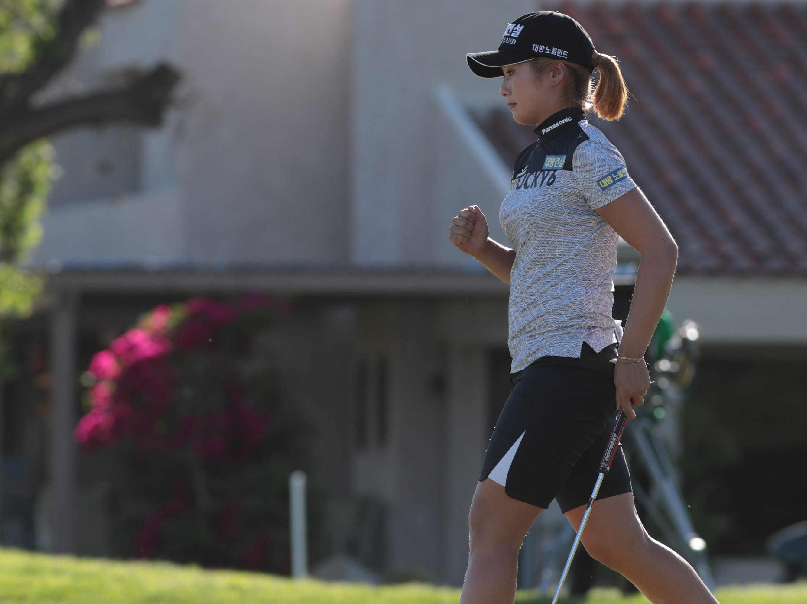 Jeongeun Lee reacts after a putt on the 16th hole of the Dinah Shore Course at the ANA Inspiration, Rancho Mirage, Calif., April 6, 2019.