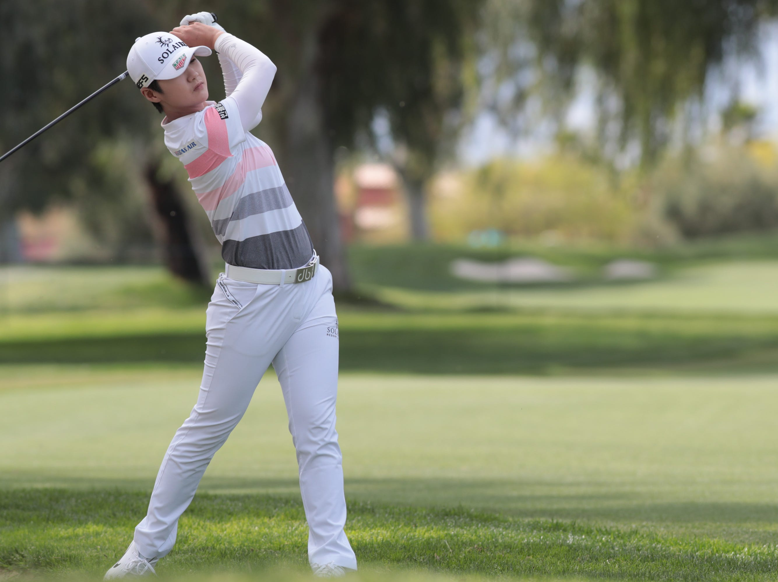 Sung Hyun Park hits on the ninth hole of the Dinah Shore Course at the ANA Inspiration, Rancho Mirage, Calif., April 6, 2019.