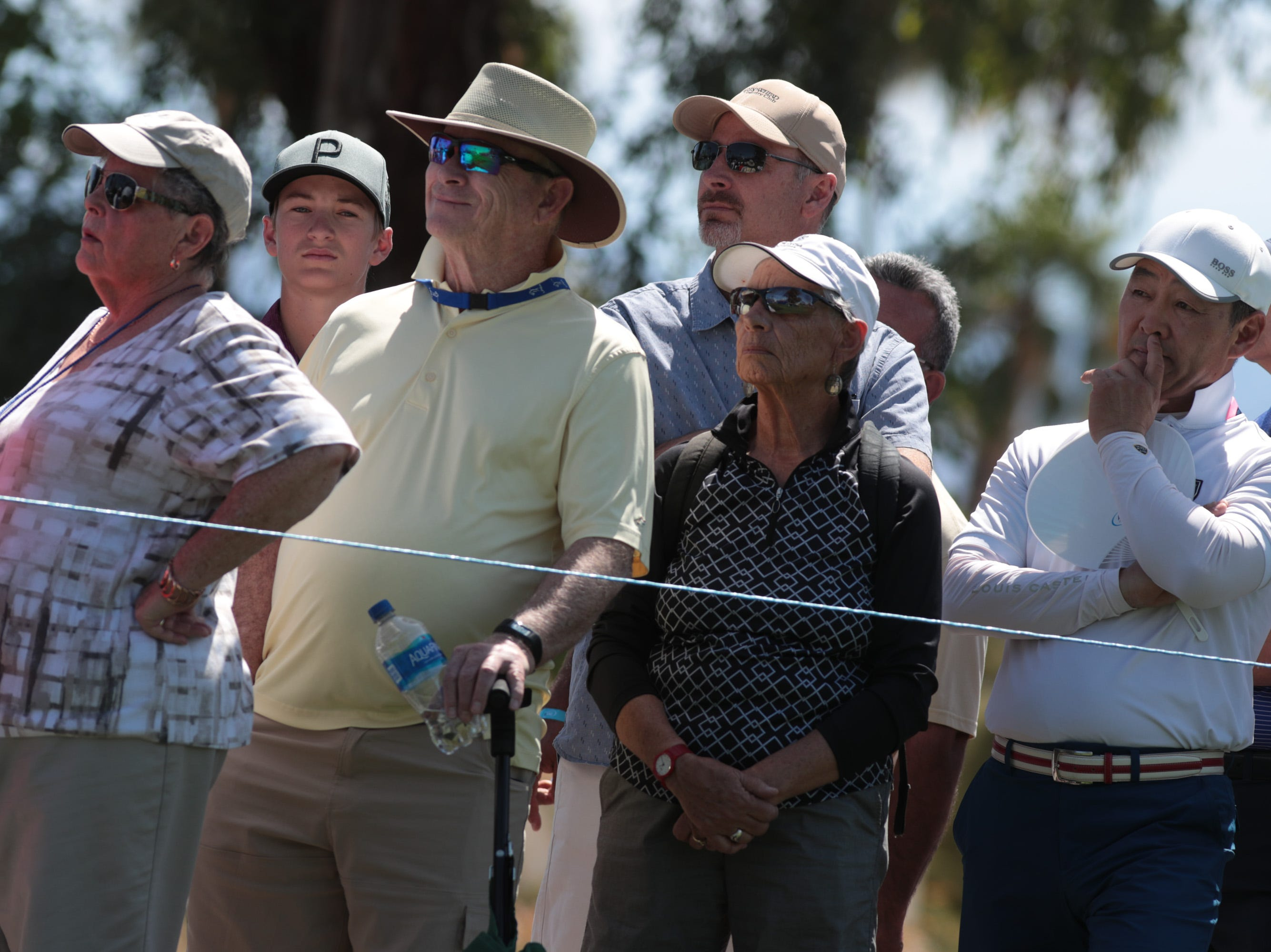 Fans watch players tee off on the first hole of the Dinah Shore Course at the ANA Inspiration, Rancho Mirage, Calif., April 6, 2019.