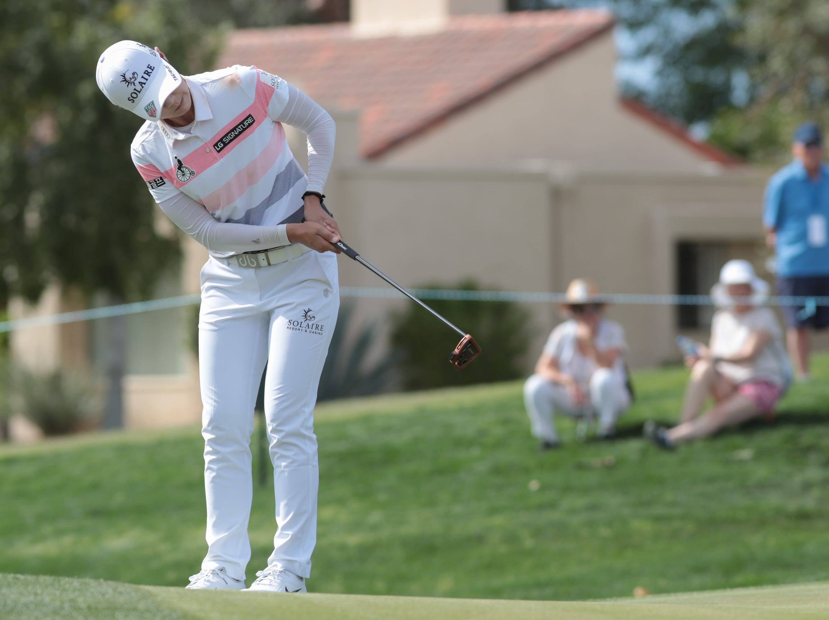 Sung Hyun Park putts on the ninth hole of the Dinah Shore Course at the ANA Inspiration, Rancho Mirage, Calif., April 6, 2019.