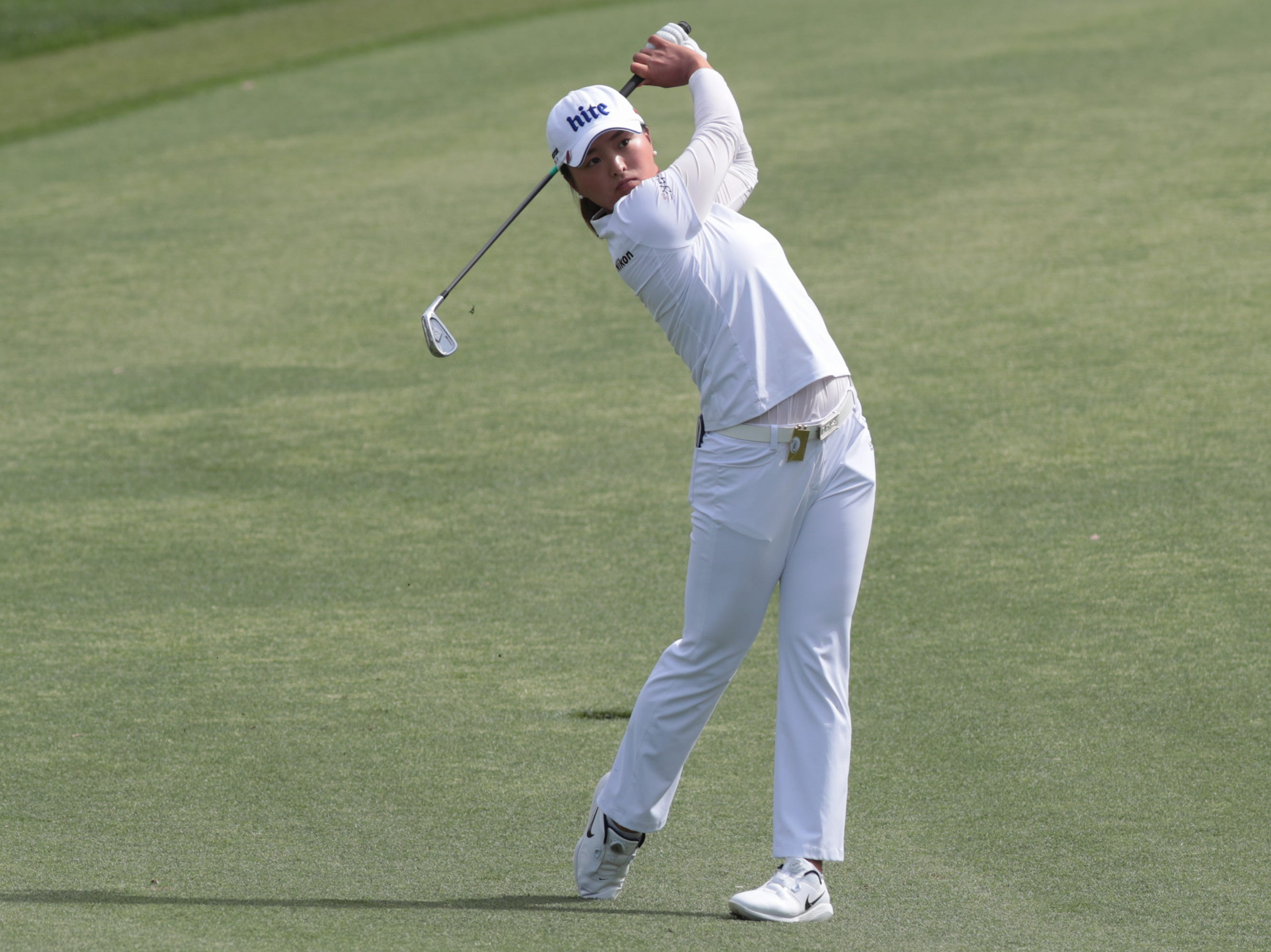 Jin Young Ko plays on the Dinah Shore Course at the ANA Inspiration, Rancho Mirage, Calif., April 6, 2019.
