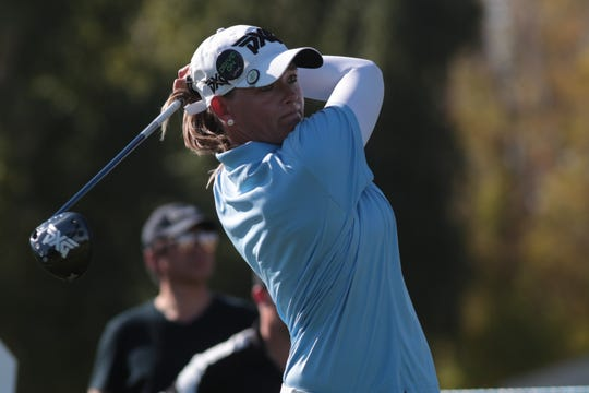 Katherine Kirk tees off on the Dinah Shore Course at the ANA Inspiration, Rancho Mirage, Calif., April 6, 2019.