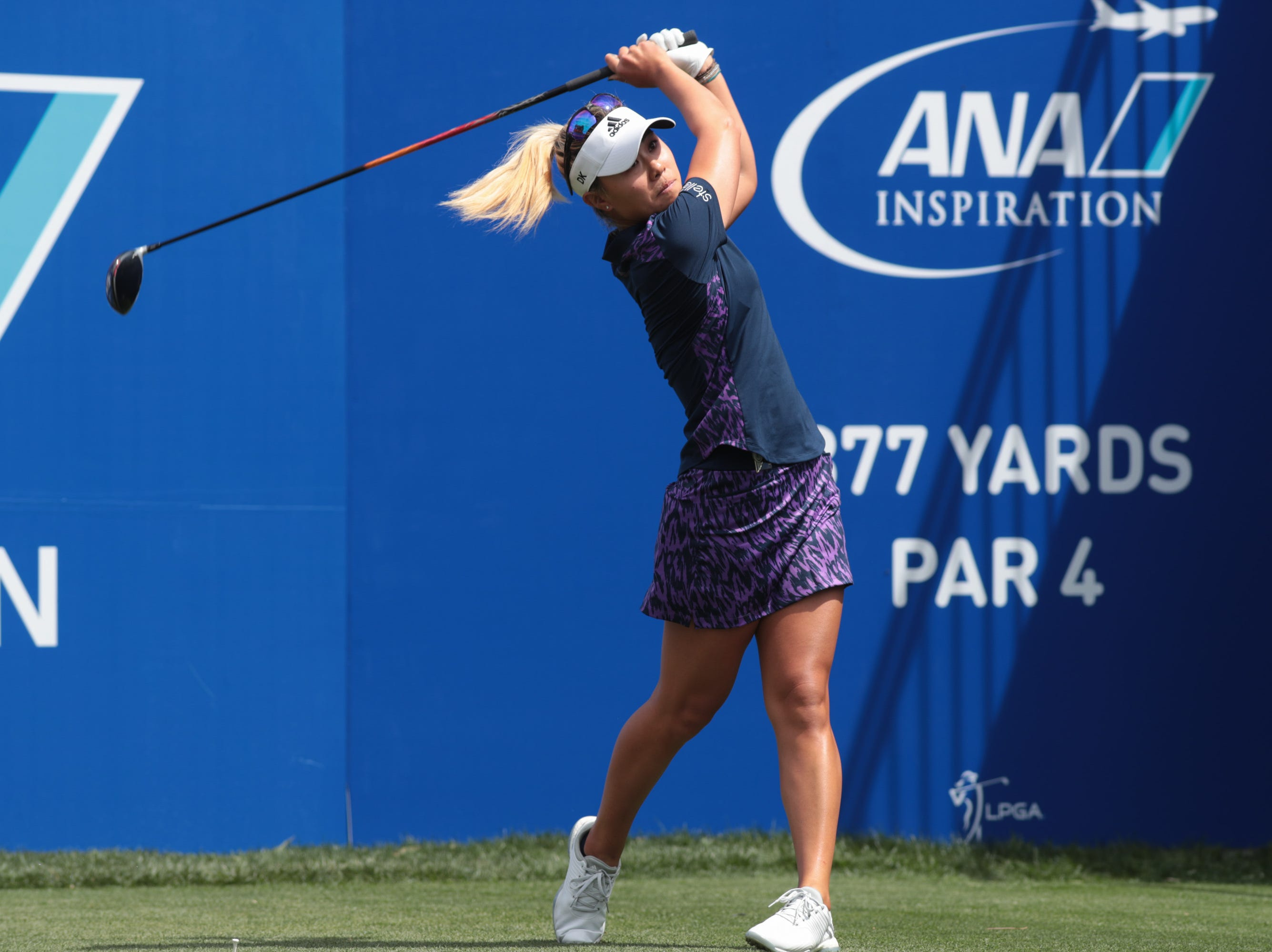 Danielle Kang tees off on the first hole of the Dinah Shore Course at the ANA Inspiration, Rancho Mirage, Calif., April 6, 2019.