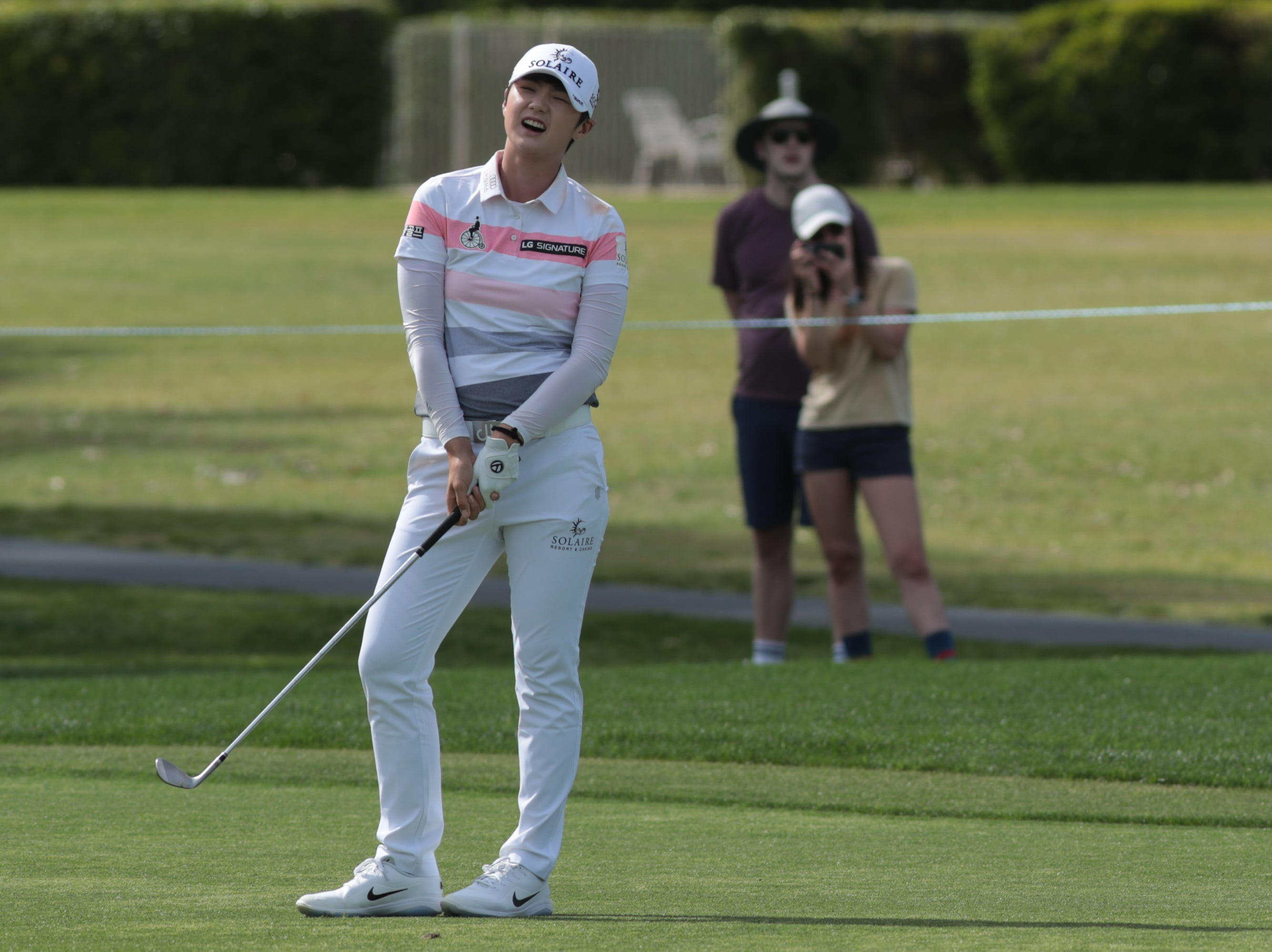 Sung Hyun Park reacts after a bad shot on the ninth hole of the Dinah Shore Course at the ANA Inspiration, Rancho Mirage, Calif., April 6, 2019.