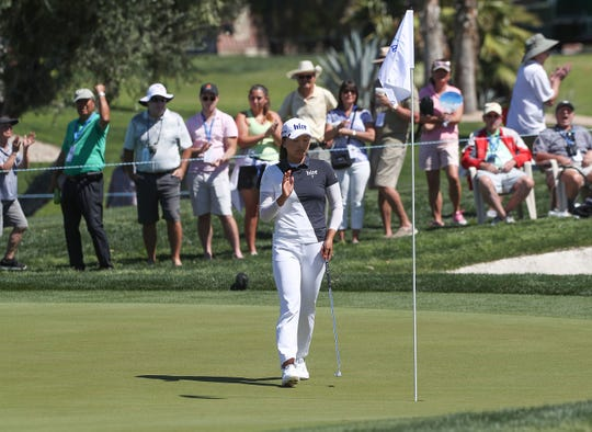 Jin Young Ko sinksa birdie putt on the second hole at the ANA Inspiration at Mission Hills Country Club in Rancho Mirage, April 7, 2019.