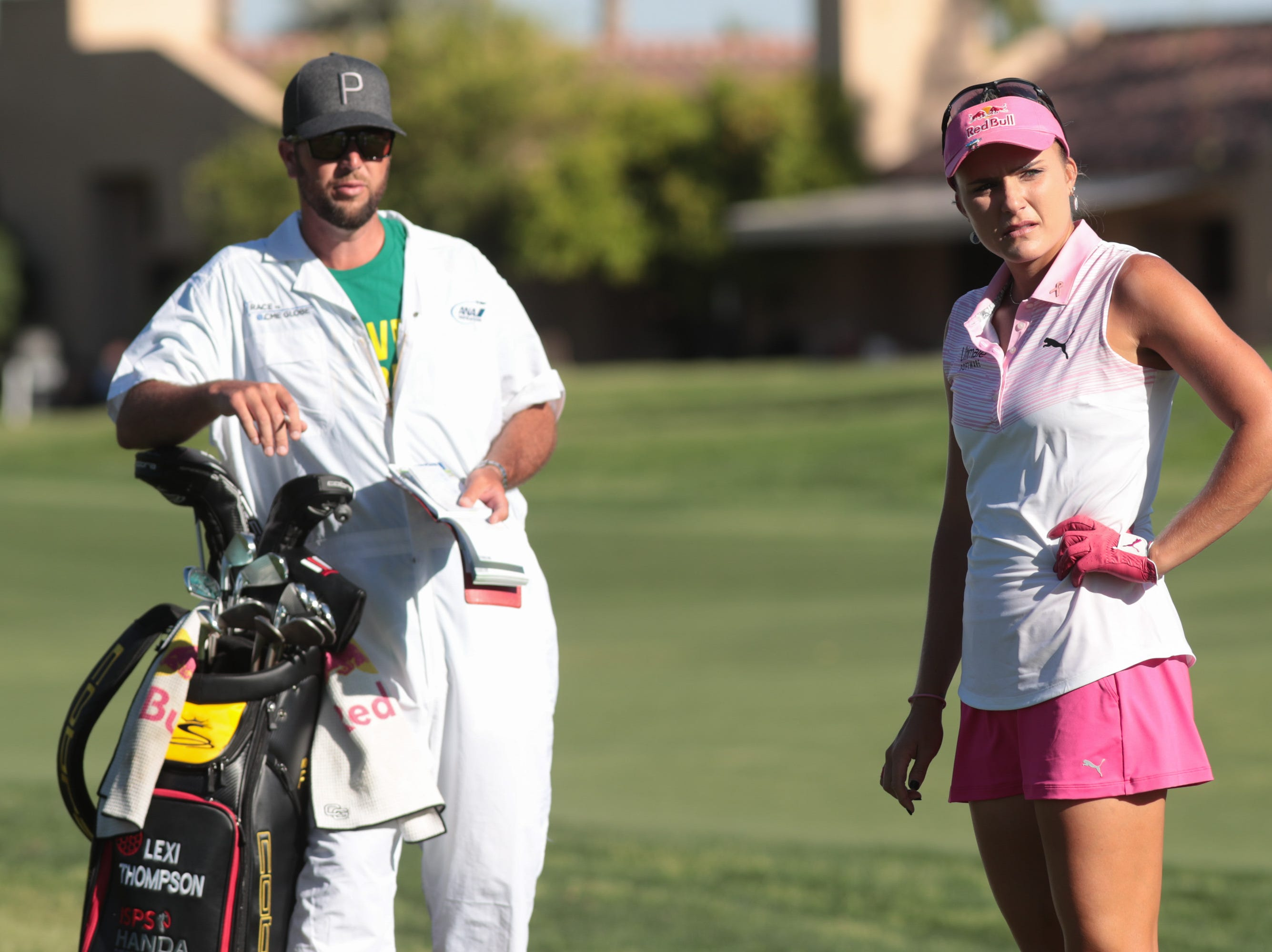 Lexi Thompson prepares for a shot on the 16th hole of the Dinah Shore Course at the ANA Inspiration, Rancho Mirage, Calif., April 6, 2019.