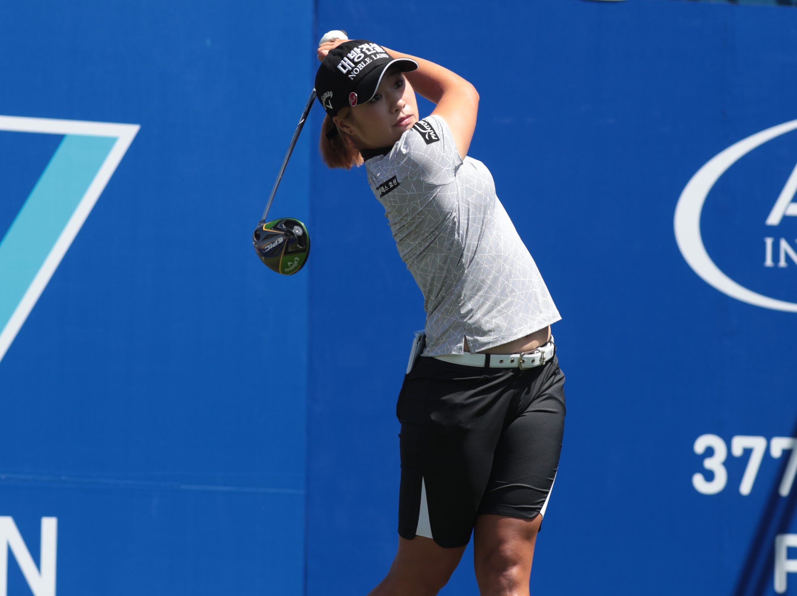 Jeongeun Lee tees off on the first hole of the Dinah Shore Course at the ANA Inspiration, Rancho Mirage, Calif., April 6, 2019.