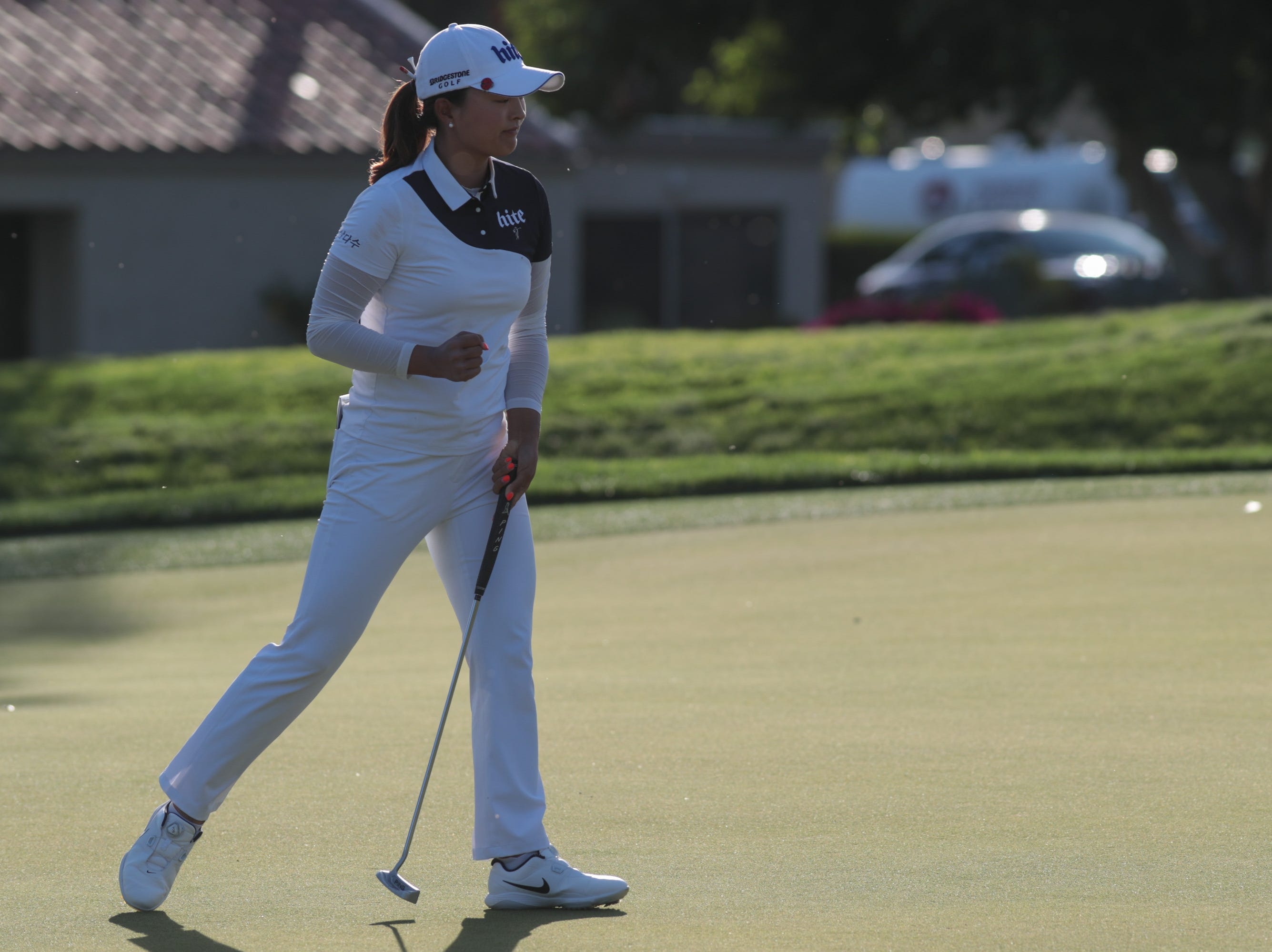 Jin Young Ko reacts after making a putt on the 17th hole of the Dinah Shore Course at the ANA Inspiration, Rancho Mirage, Calif., April 6, 2019.