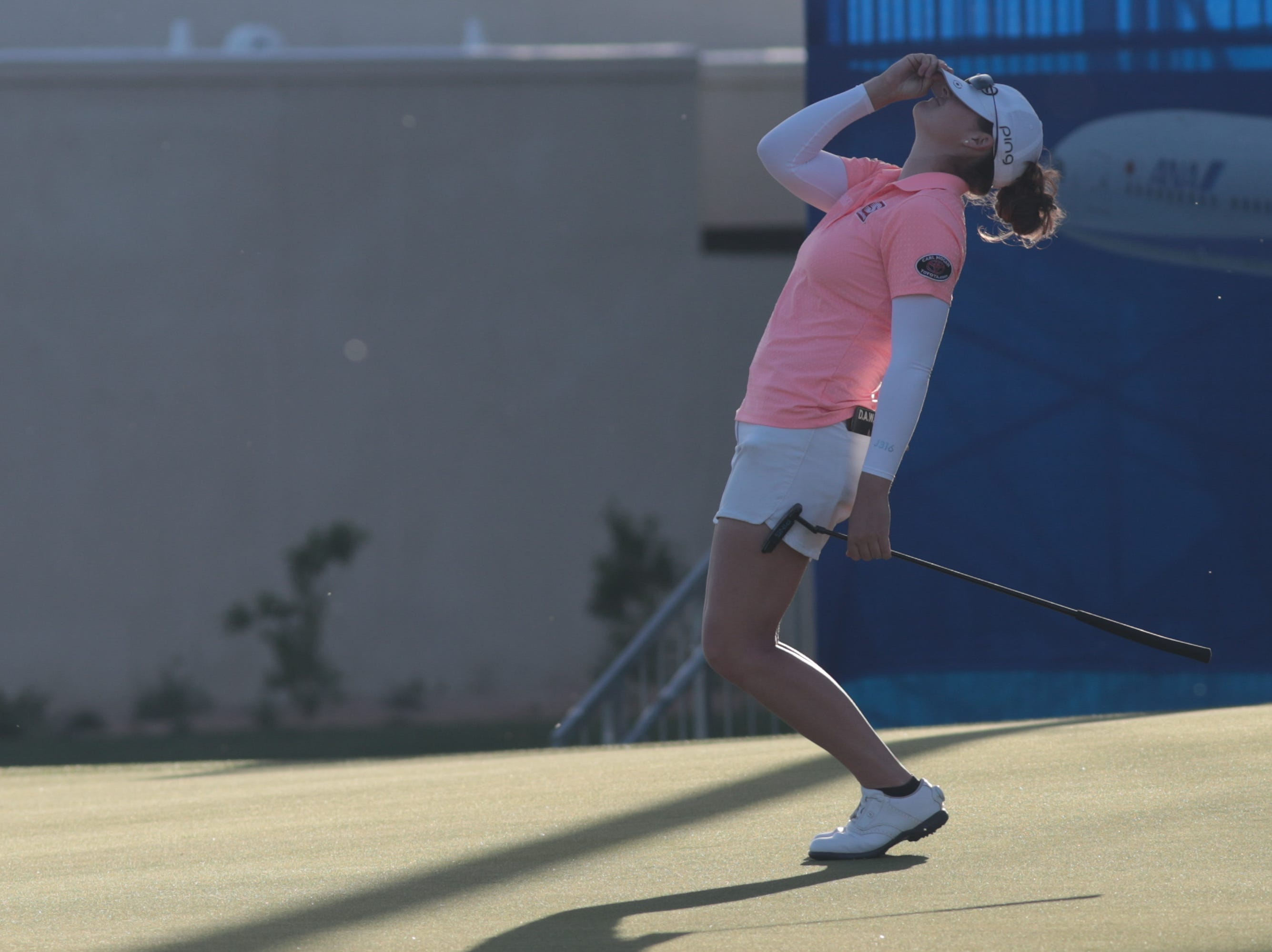 Ally McDonald reacts after missing a putt on the 18th hole of the Dinah Shore Course at the ANA Inspiration, Rancho Mirage, Calif., April 6, 2019.