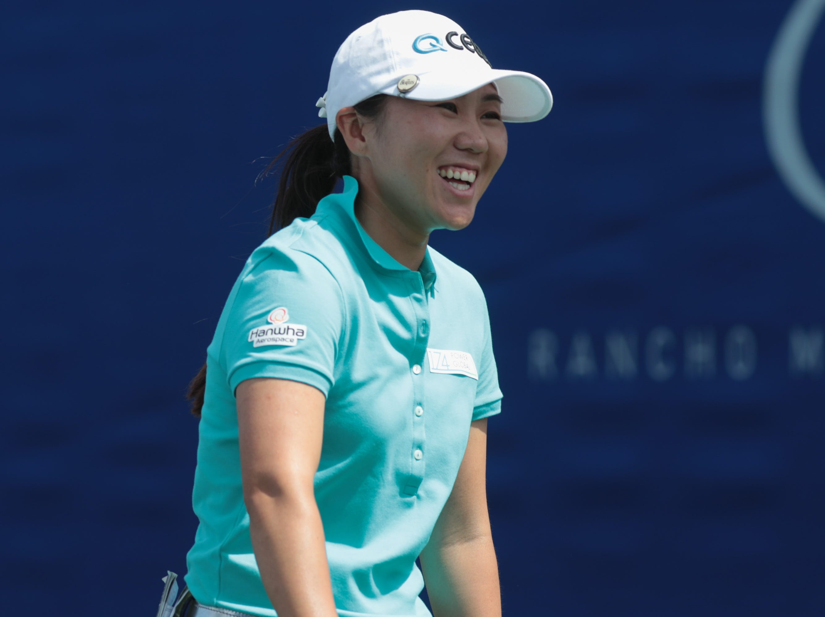 In-Kyung Kim exchanges a laugh with her caddie after teeing off on the first hole of the Dinah Shore Course at the ANA Inspiration, Rancho Mirage, Calif., April 6, 2019.