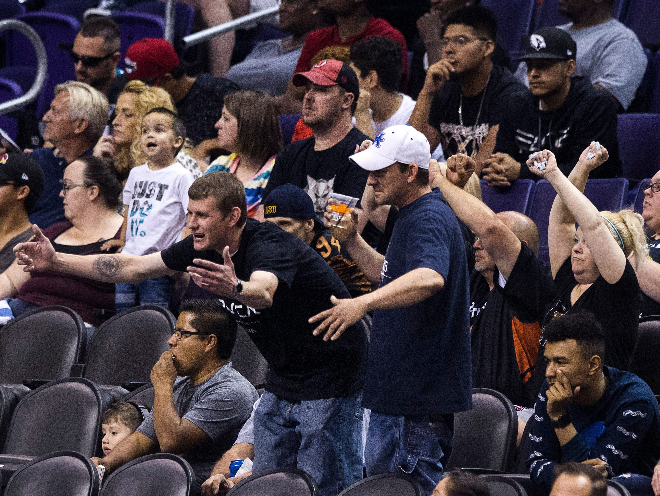 Arizona Rattlers fans razz the San Diego Strike Force players as they get beat handily in the first half by the Rattlers at Talking Stick Resort Arena in Phoenix Friday, April. 6, 2019.