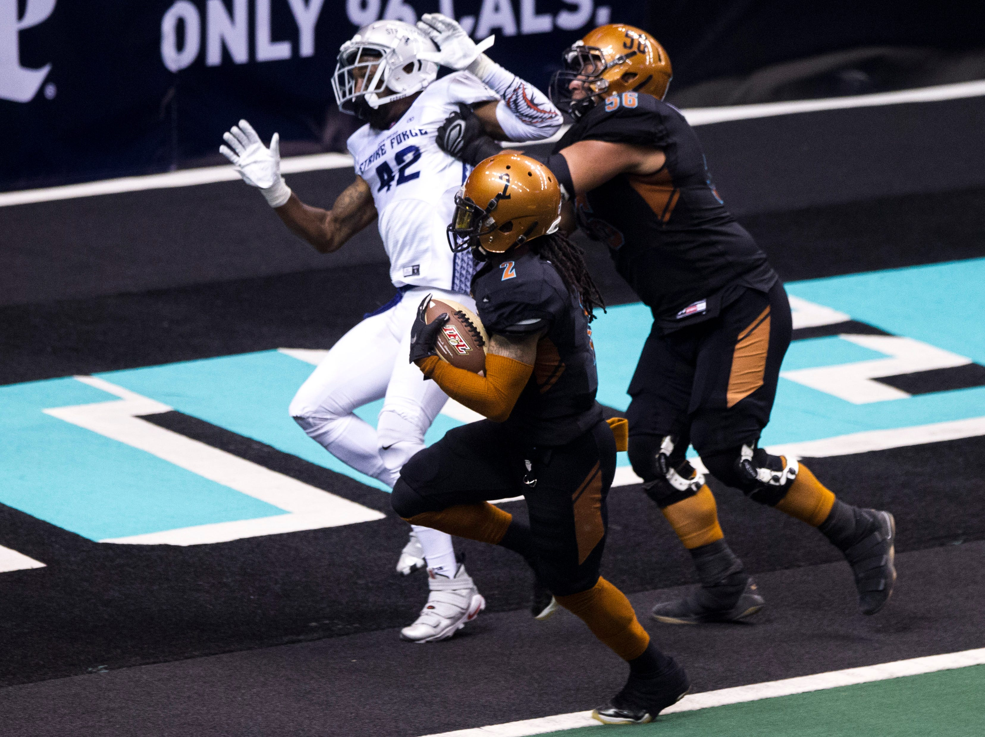 Arizona Rattlers' Jamal Miles (2) dances into the end zone against San Diego Strike Force in the first half of their game at Talking Stick Resort Arena in Phoenix Friday, April. 6, 2019.