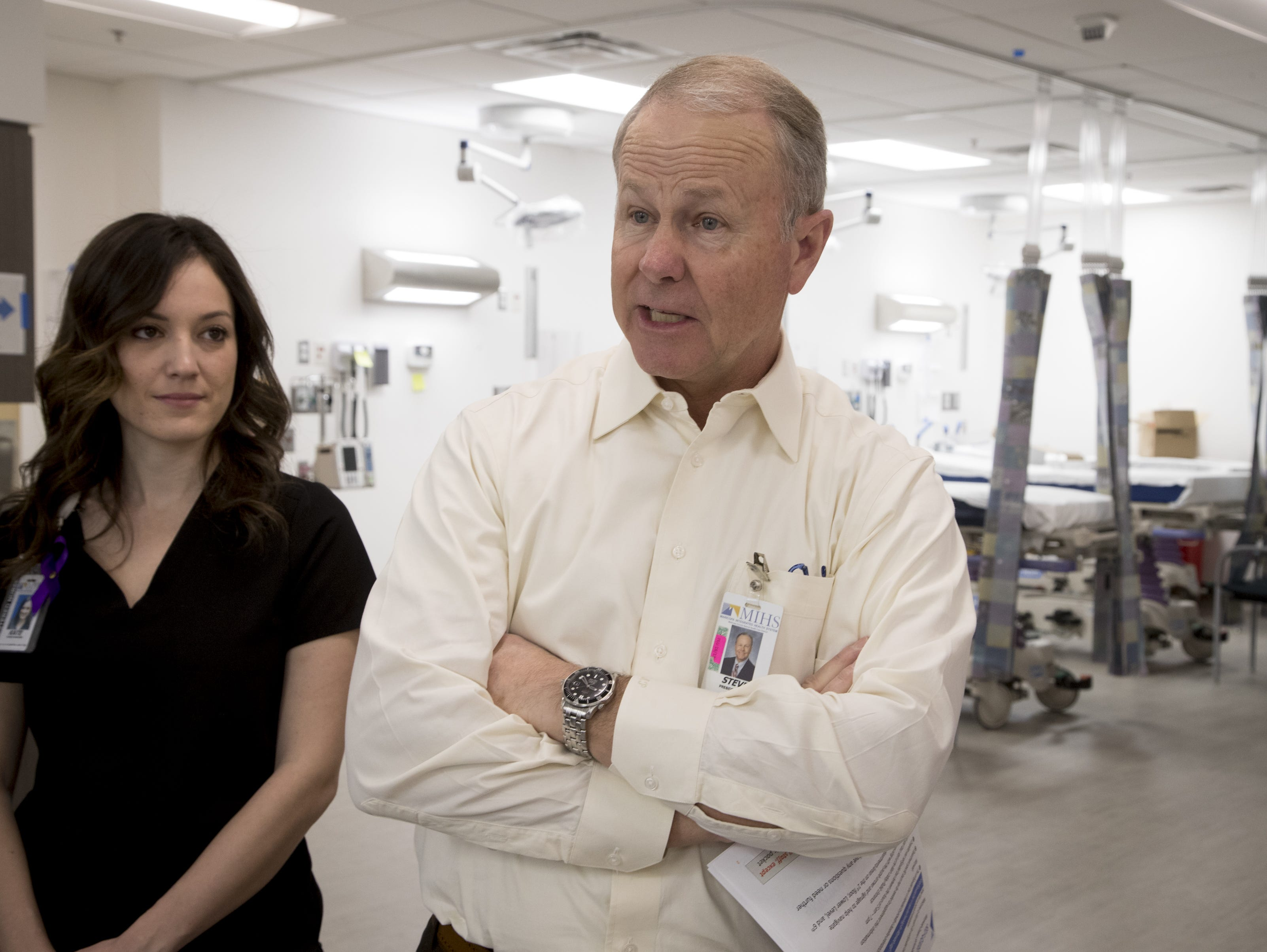 Steve Purves, MIHS president and CEO, speals in the Emergency Department at the Maricopa Integrated Health System Maryvale campus on April 1, 2019.