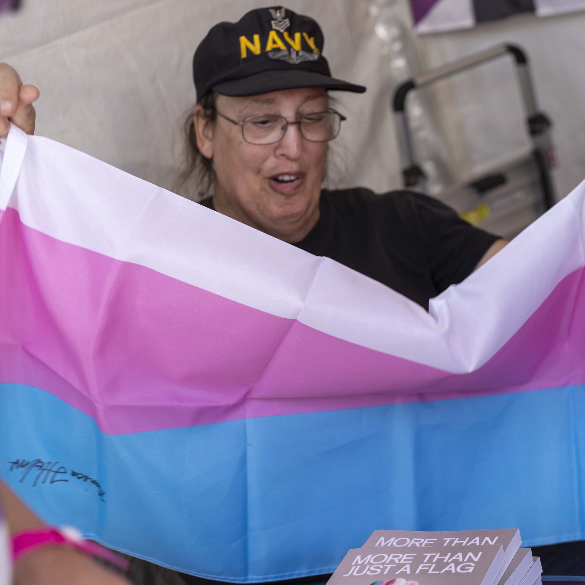 Monica Helms, creator of the transgender pride flag, is 'still amazed' to see it displayed