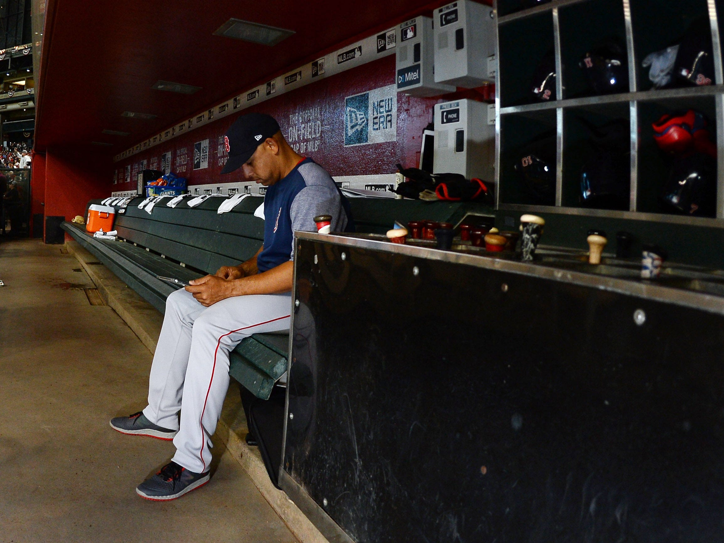 Apr 6, 2019; Phoenix, AZ, USA; Boston Red Sox manager Alex Cora (20) looks on prior to a game against the Arizona Diamondbacks at Chase Field. Mandatory Credit: Joe Camporeale-USA TODAY Sports