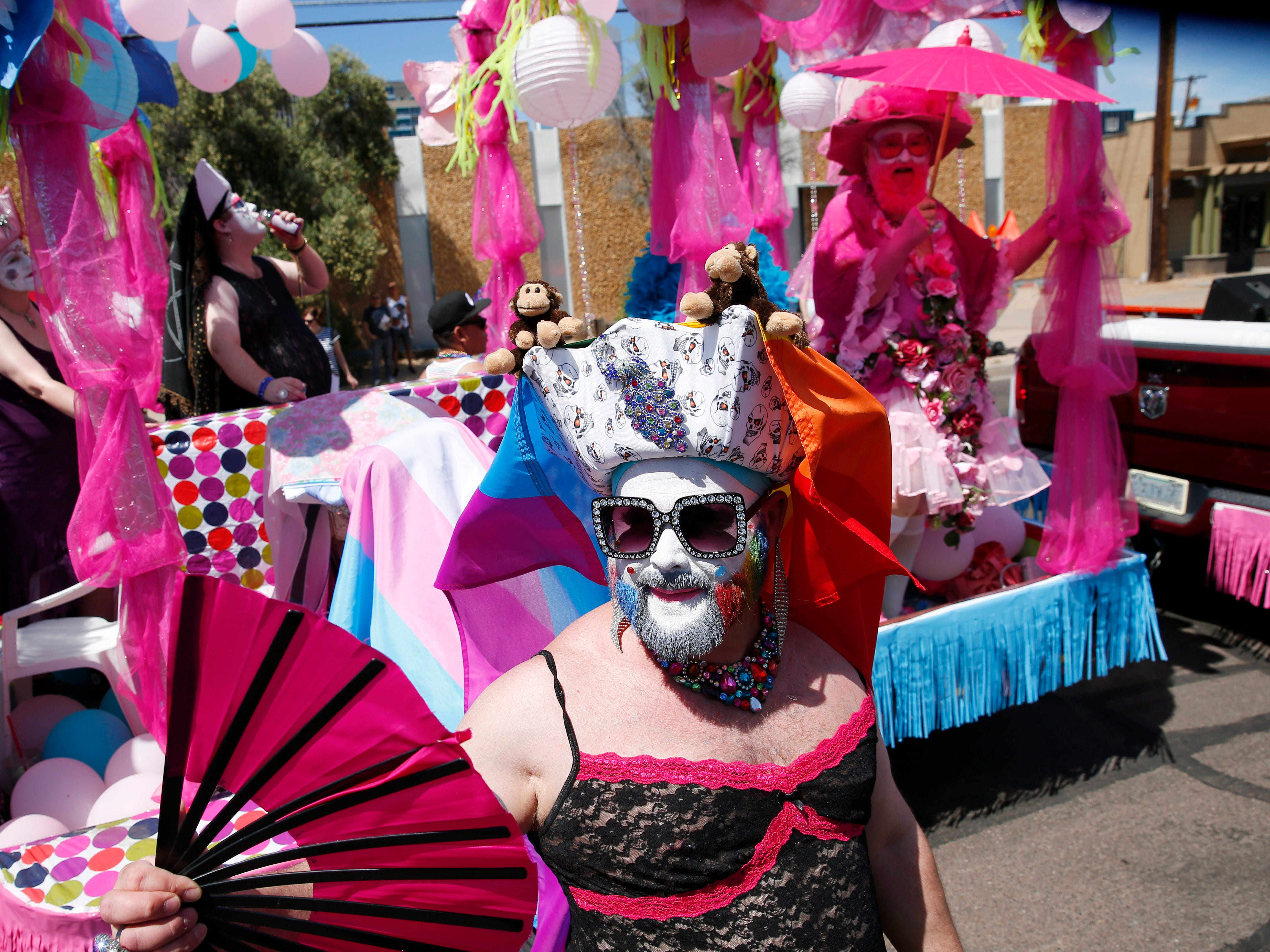 Members of the Grand Canyon Sisters of Perpetual Indulgence march during the Phoenix Pride Parade on April 7, 2019.