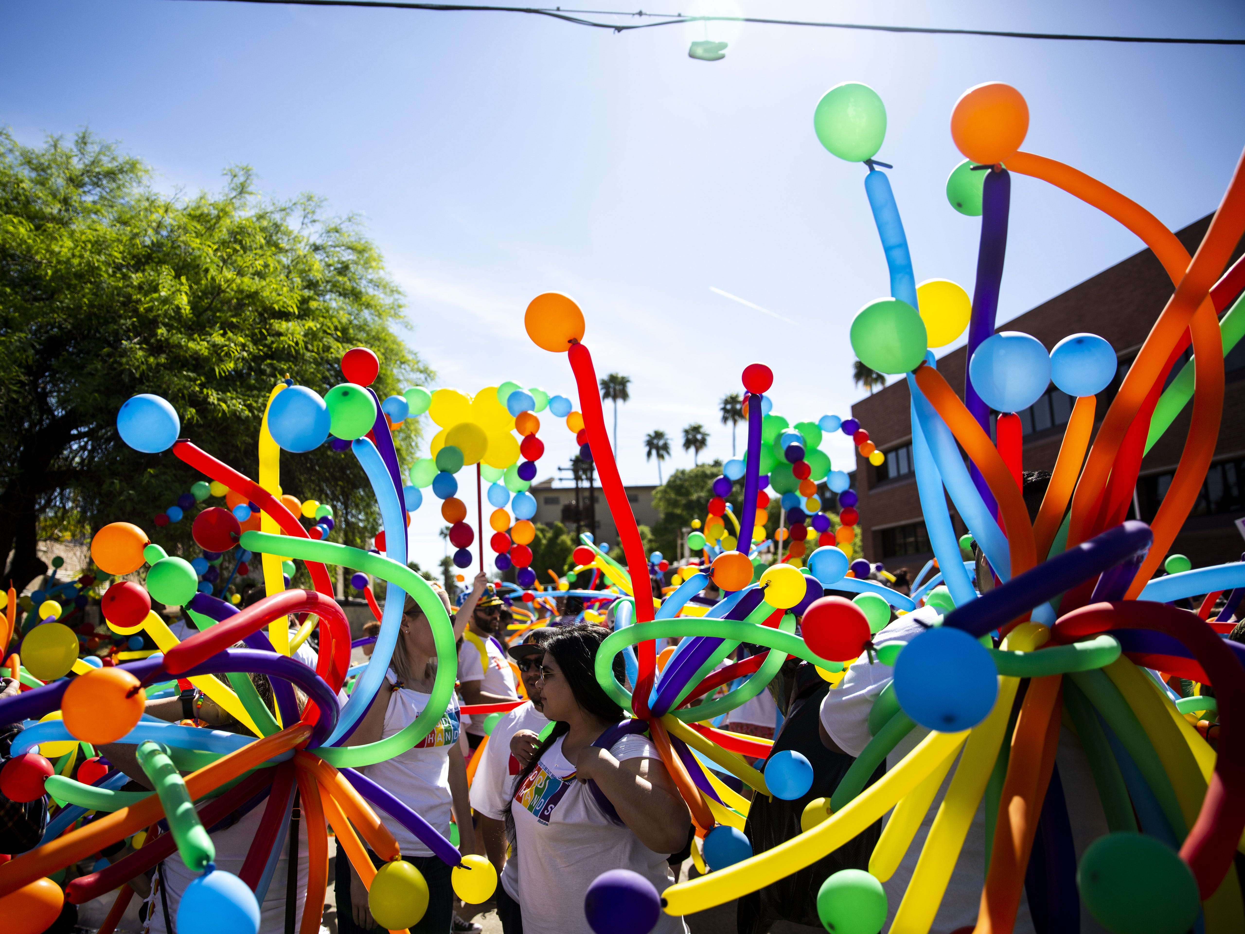 The Allstate Insurance group dressed in balloons for the Phoenix Pride Parade on April 7, 2019.